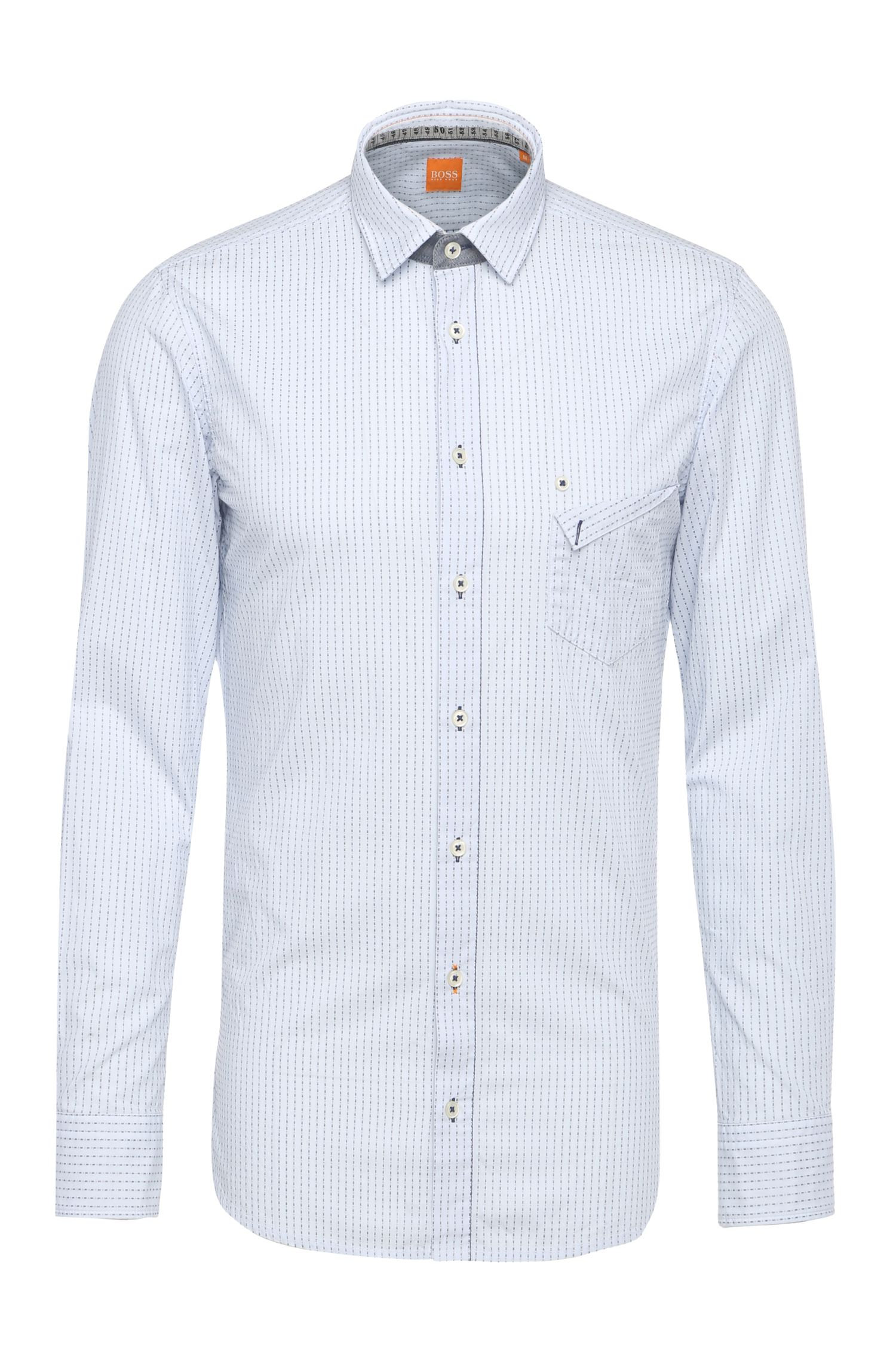 Dashed regular-fit cotton shirt with detachable collar: 'EdeepE'