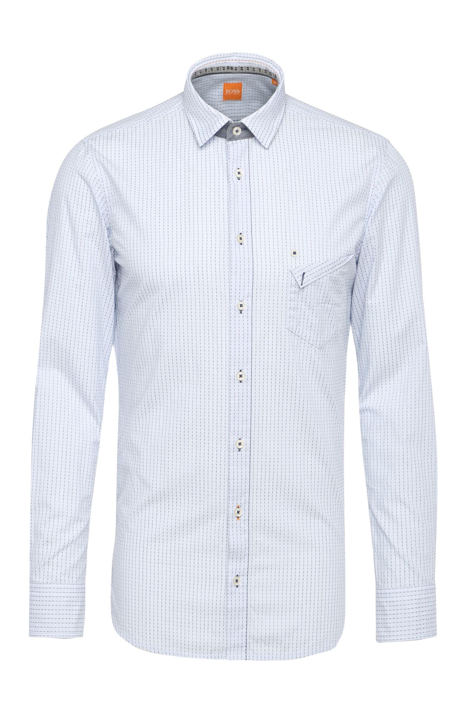 Camisa con líneas de algodón regular fit con cuello extraíble: 'EdeepE'