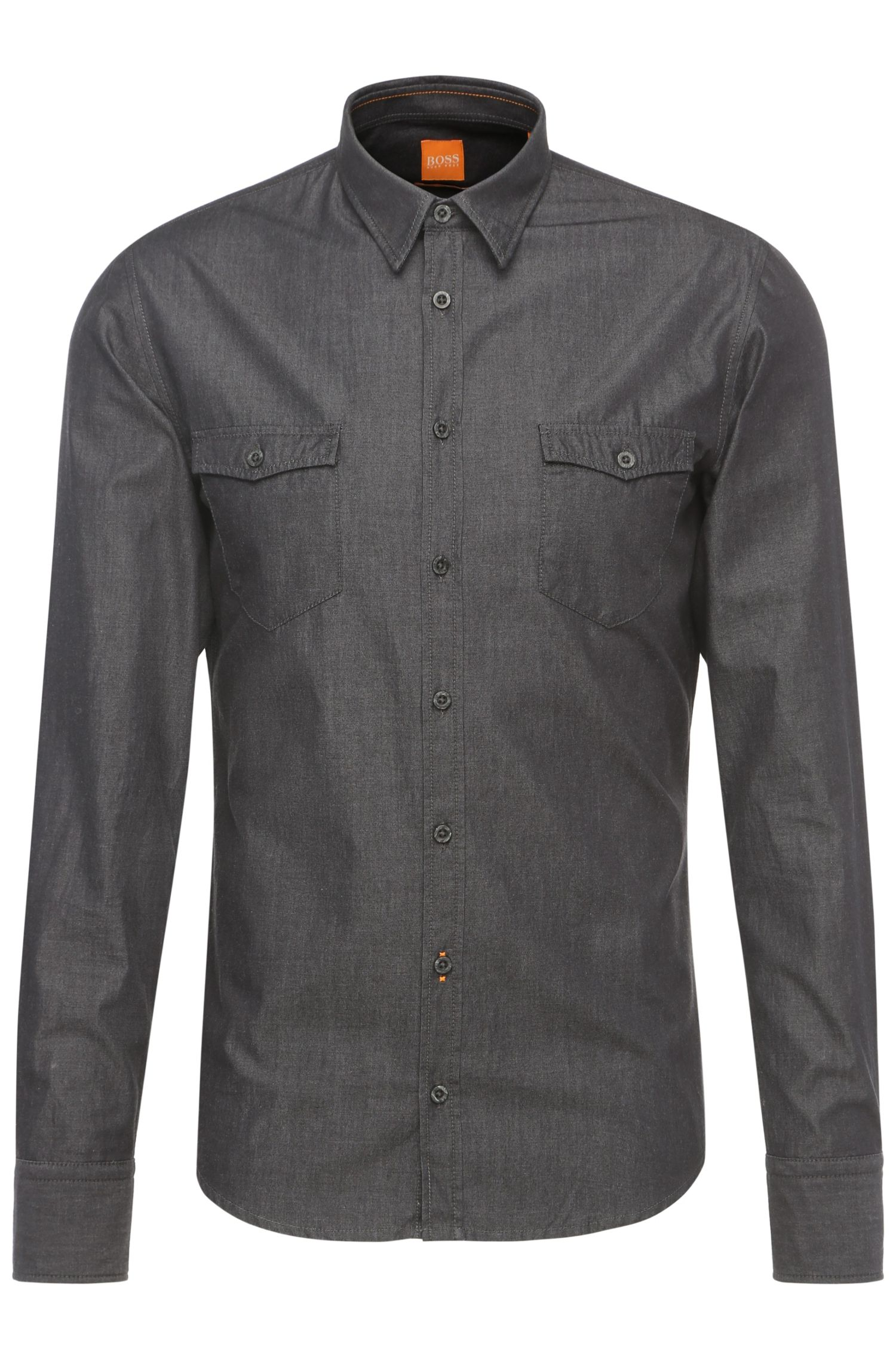 Slim-fit overhemd van lichte katoen: 'EdoslimE'