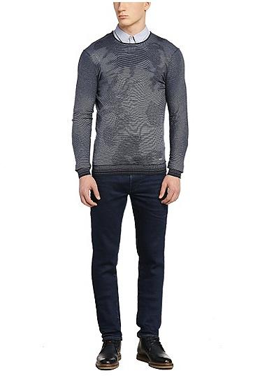 Fein gestreiftes Slim-Fit Hemd aus Baumwoll-Mix: ´EdoslimE`, Blau