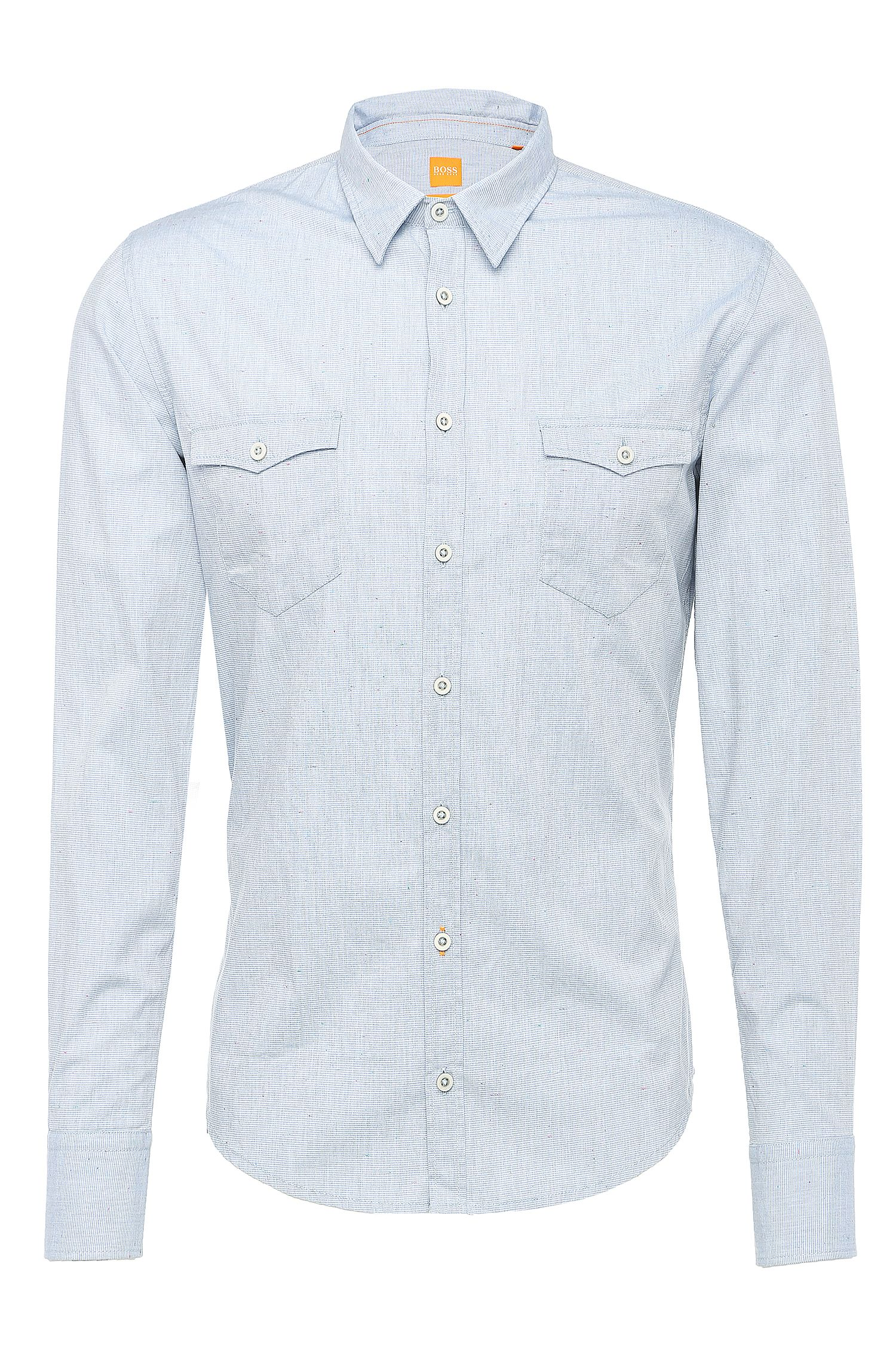 Finely striped slim-fit shirt in cotton blend: 'EdoslimE'