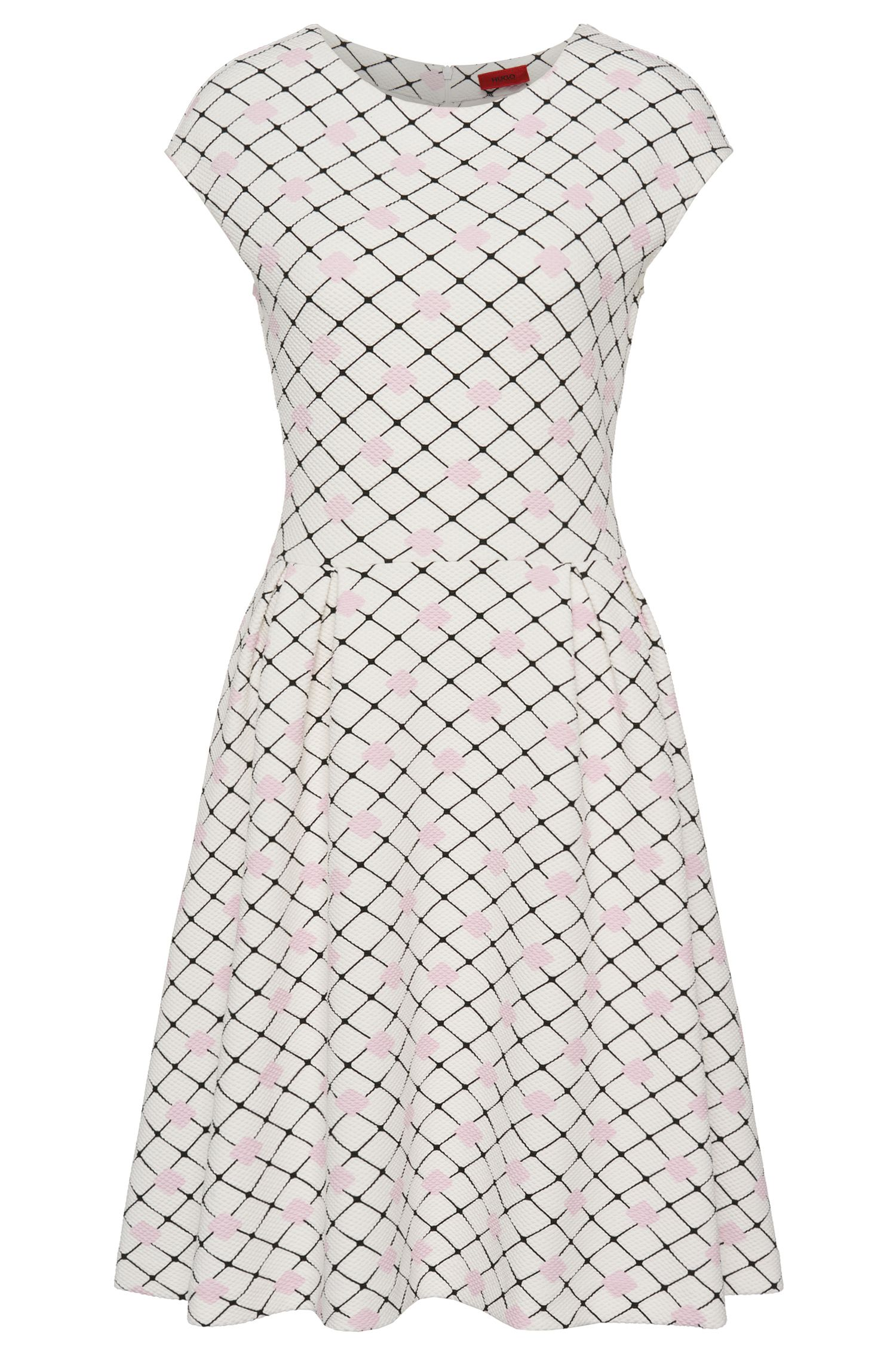 Bedrucktes Kleid aus elastischem Baumwoll-Mix: 'Denara'