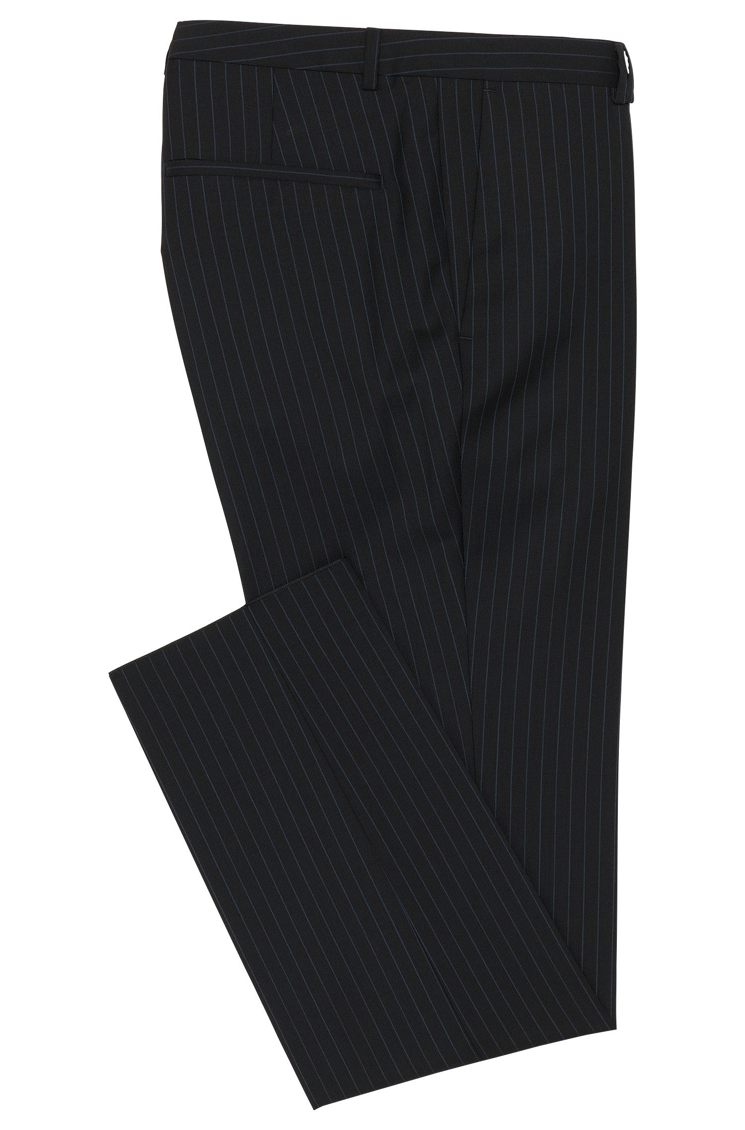 Extra Slim-Fit Hose aus Schurwolle mit Nadelstreifen: 'Heibo3'
