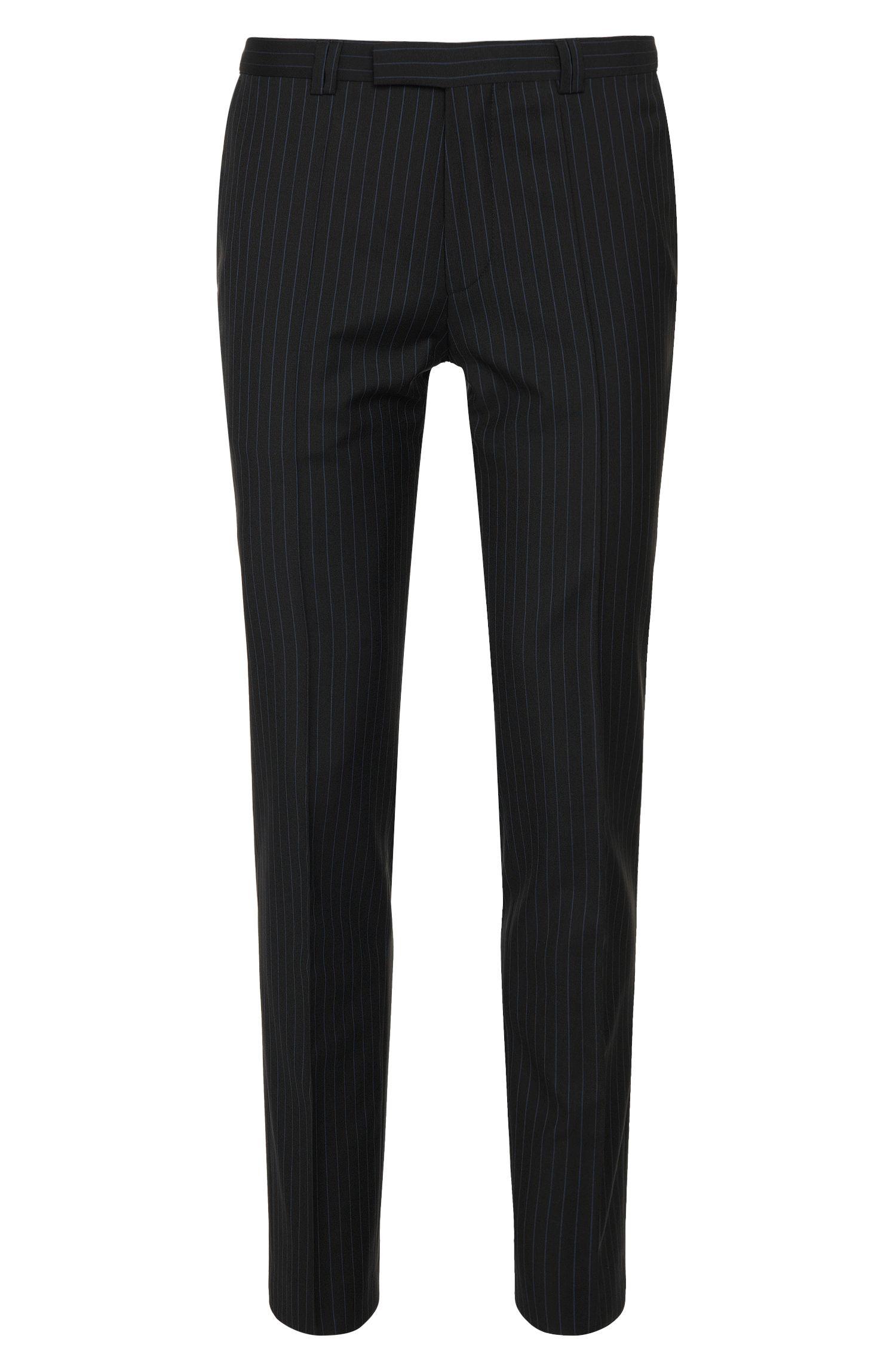 Extra slim-fit broek van scheerwol met krijtstrepen: 'Heibo3'