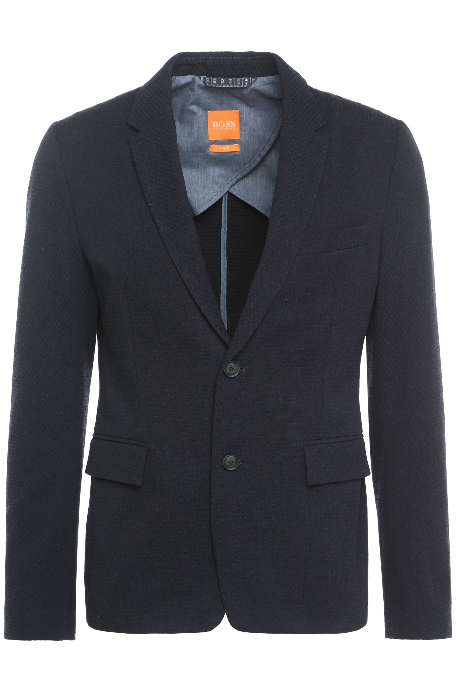 Slim-fit jacket in textured cotton blend with wool: 'Bistick'