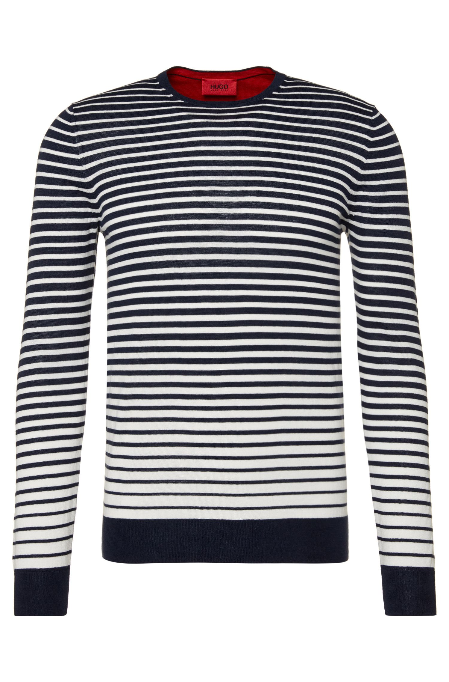 Striped, slim-fit sweater in cotton: 'Sfade'