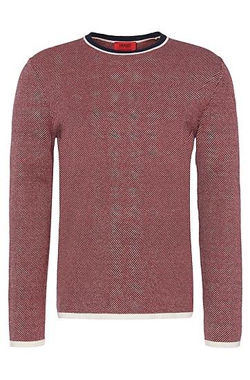 Gemusterter Comfort-Fit Pullover aus hochwertigem Baumwoll-Mix: 'Stip', Dunkelblau