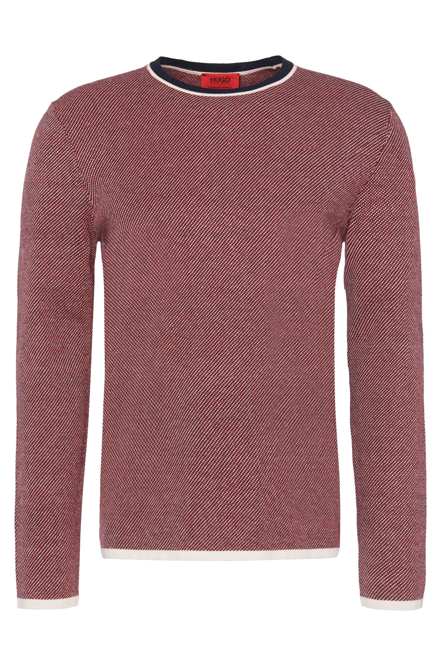 Patterned comfort-fit sweater in high-quality cotton blend: 'Stip'