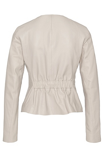Taillierte Lederjacke: 'Sazona', Hellbeige