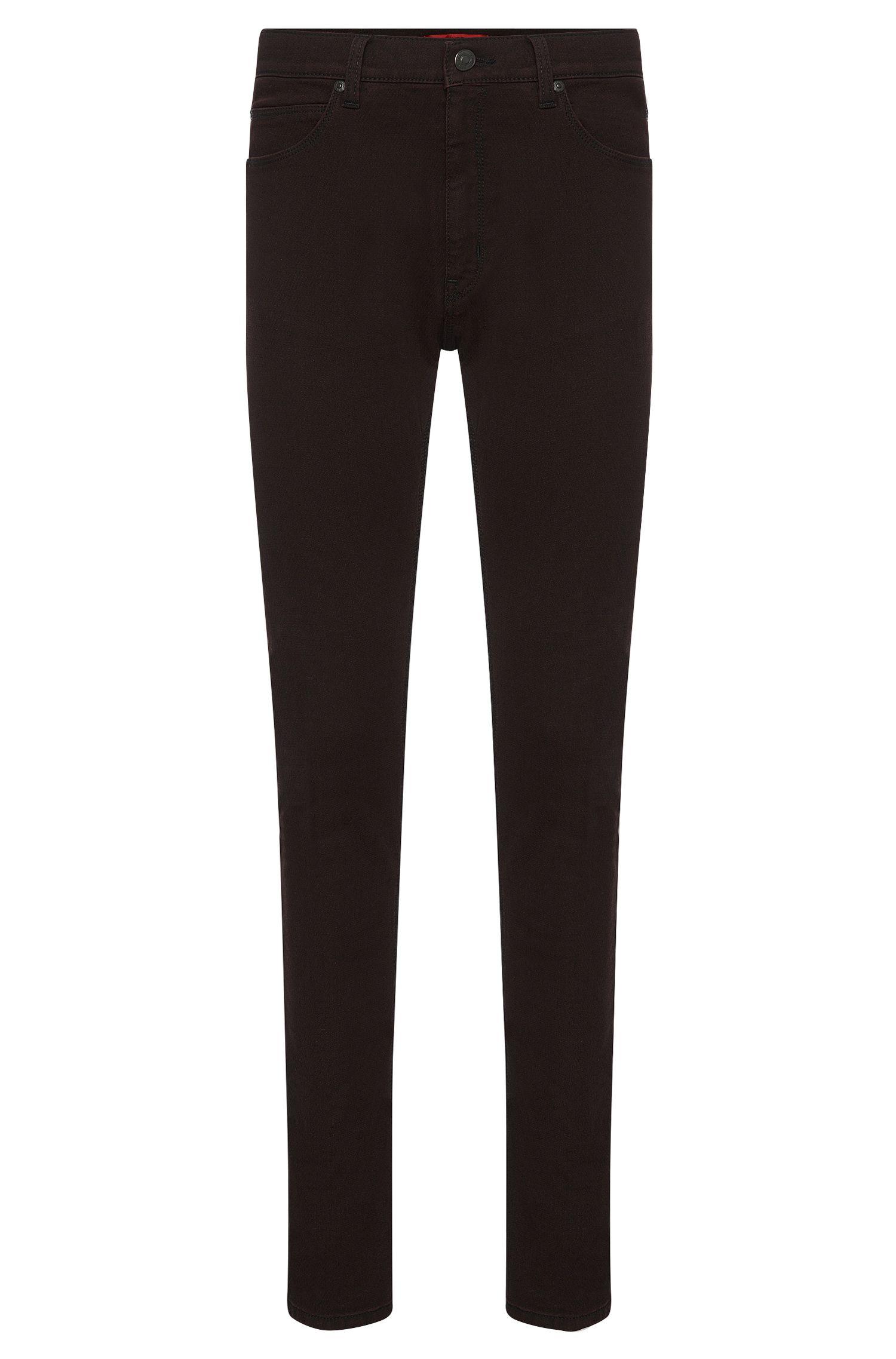 Gemusterte Slim-Fit Jeans aus elastischem Baumwoll-Mix: 'HUGO 734'