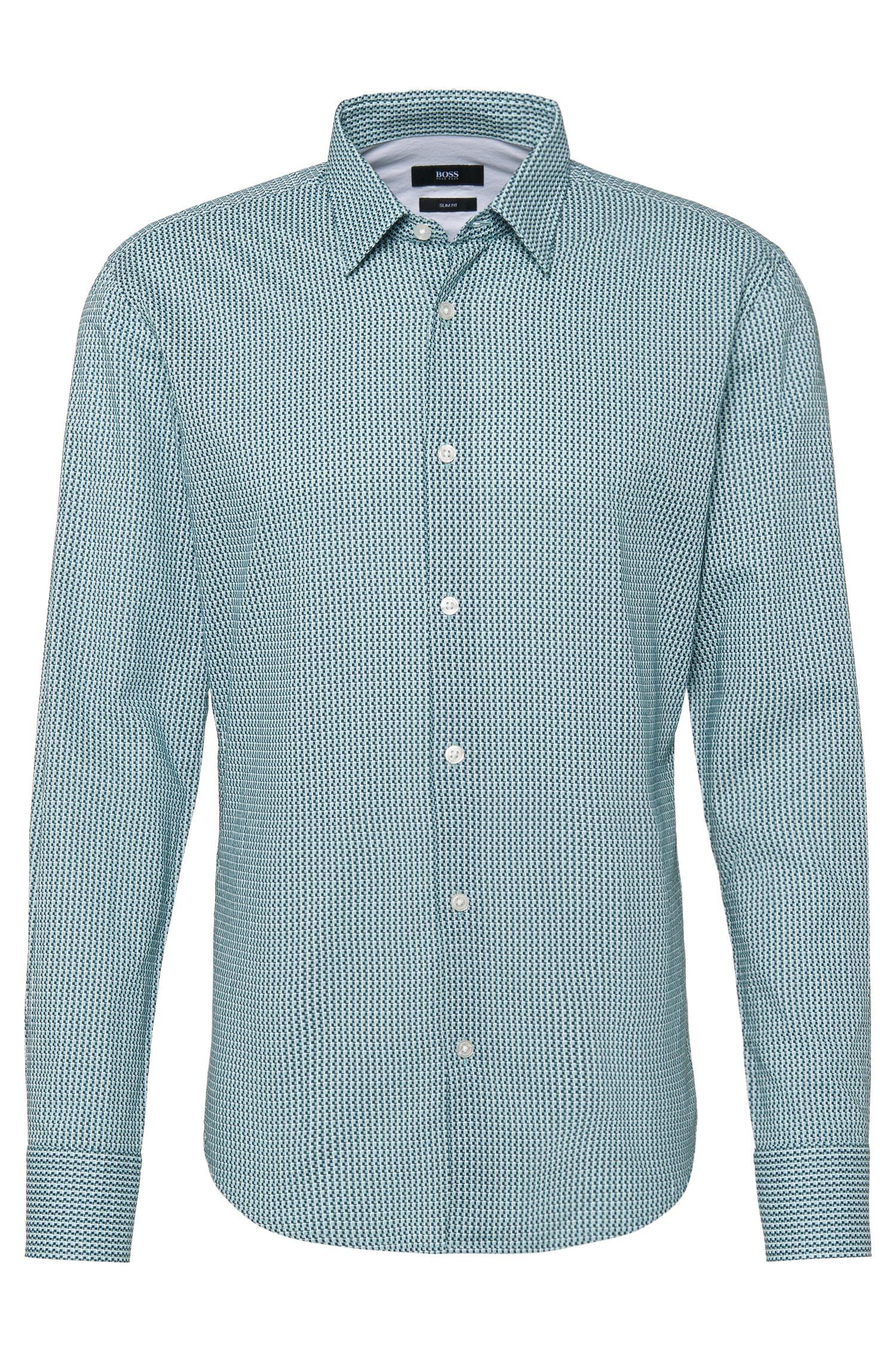 Gemustertes Slim-Fit Hemd aus Baumwolle: 'Reid_27'