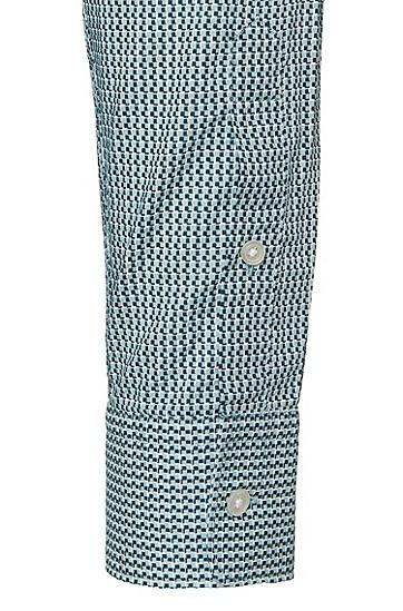 Gemustertes Slim-Fit Hemd aus Baumwolle: 'Reid_27', Türkis