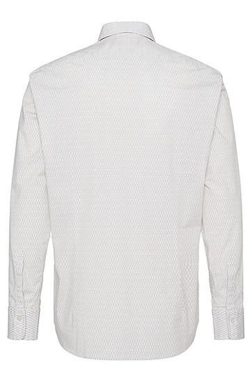 Gemustertes Regular-Fit Hemd aus Stretch-Baumwolle: 'Lukas_5', Hellbeige