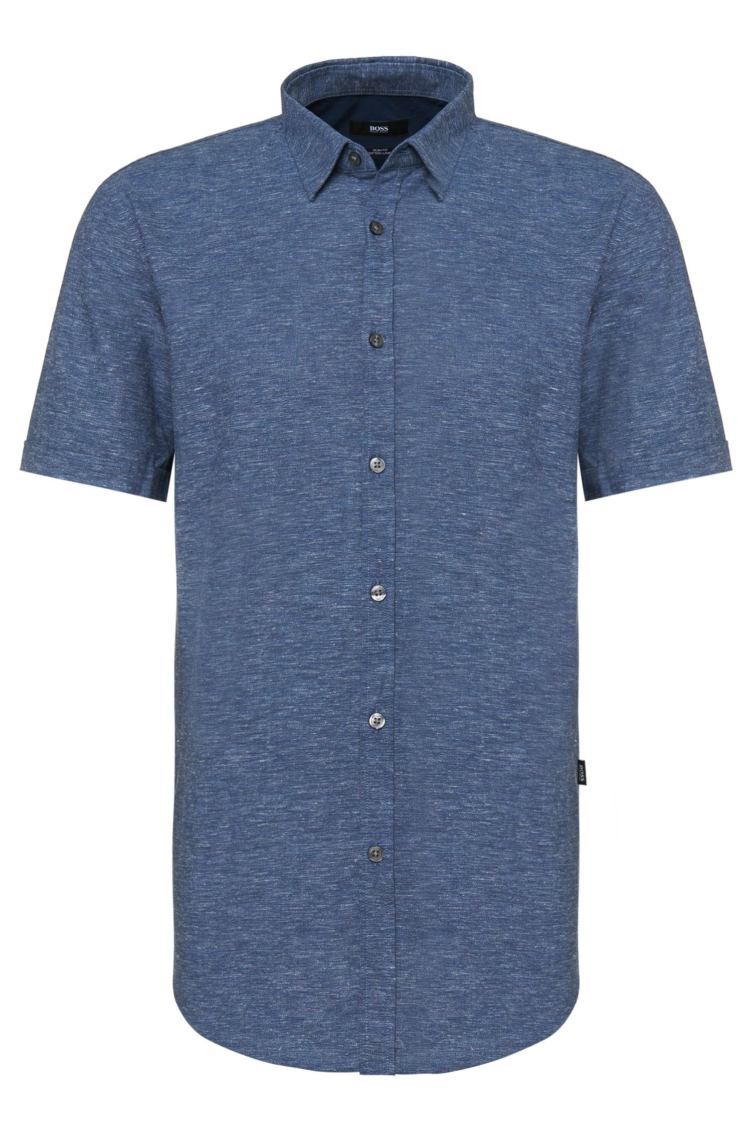 Slim-fit short-sleeved shirt in cotton blend with linen: 'Ronn_5'