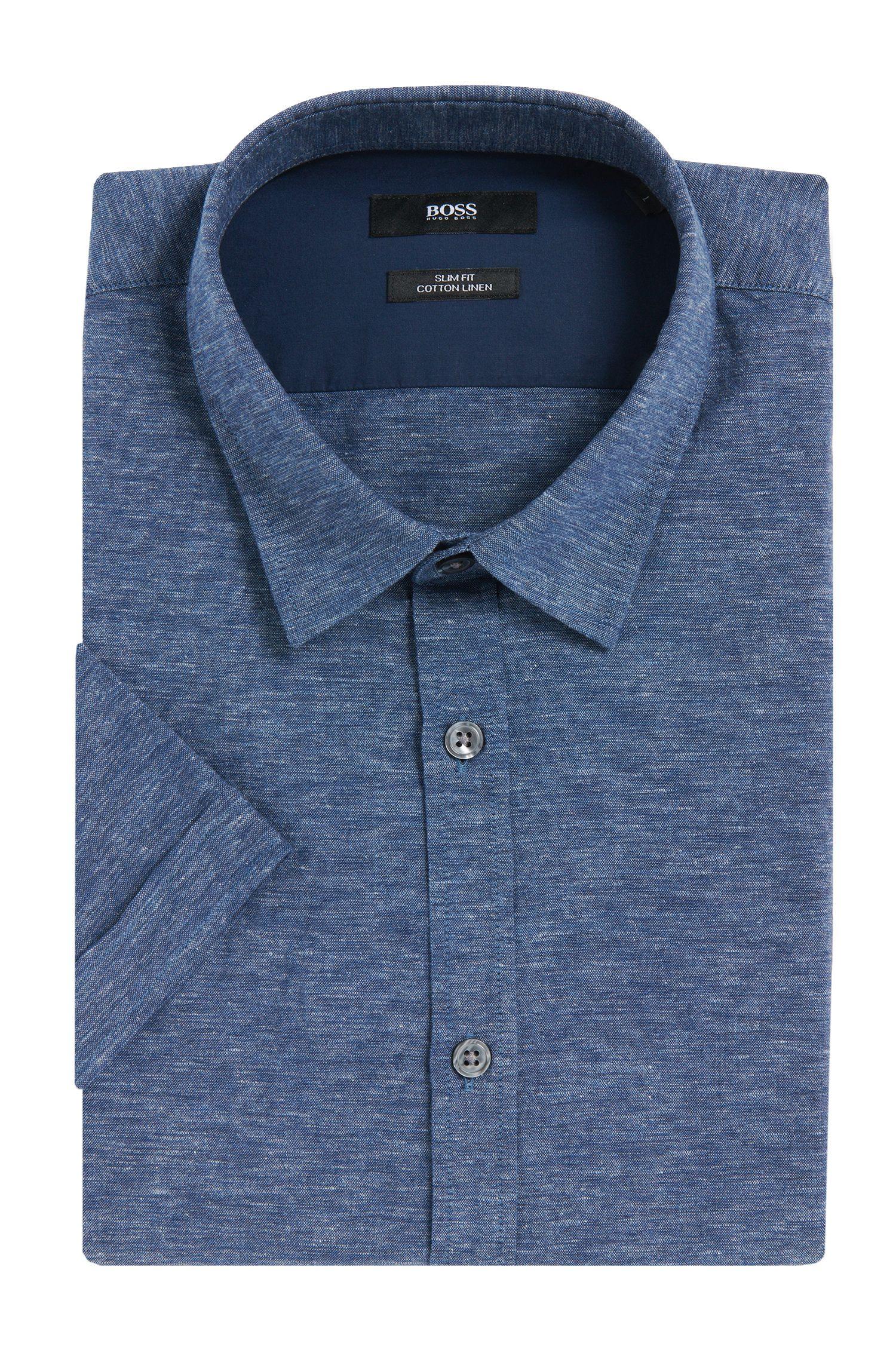 Chemise à manches courtes Slim Fit en coton mélangé à du lin: «Ronn_5»