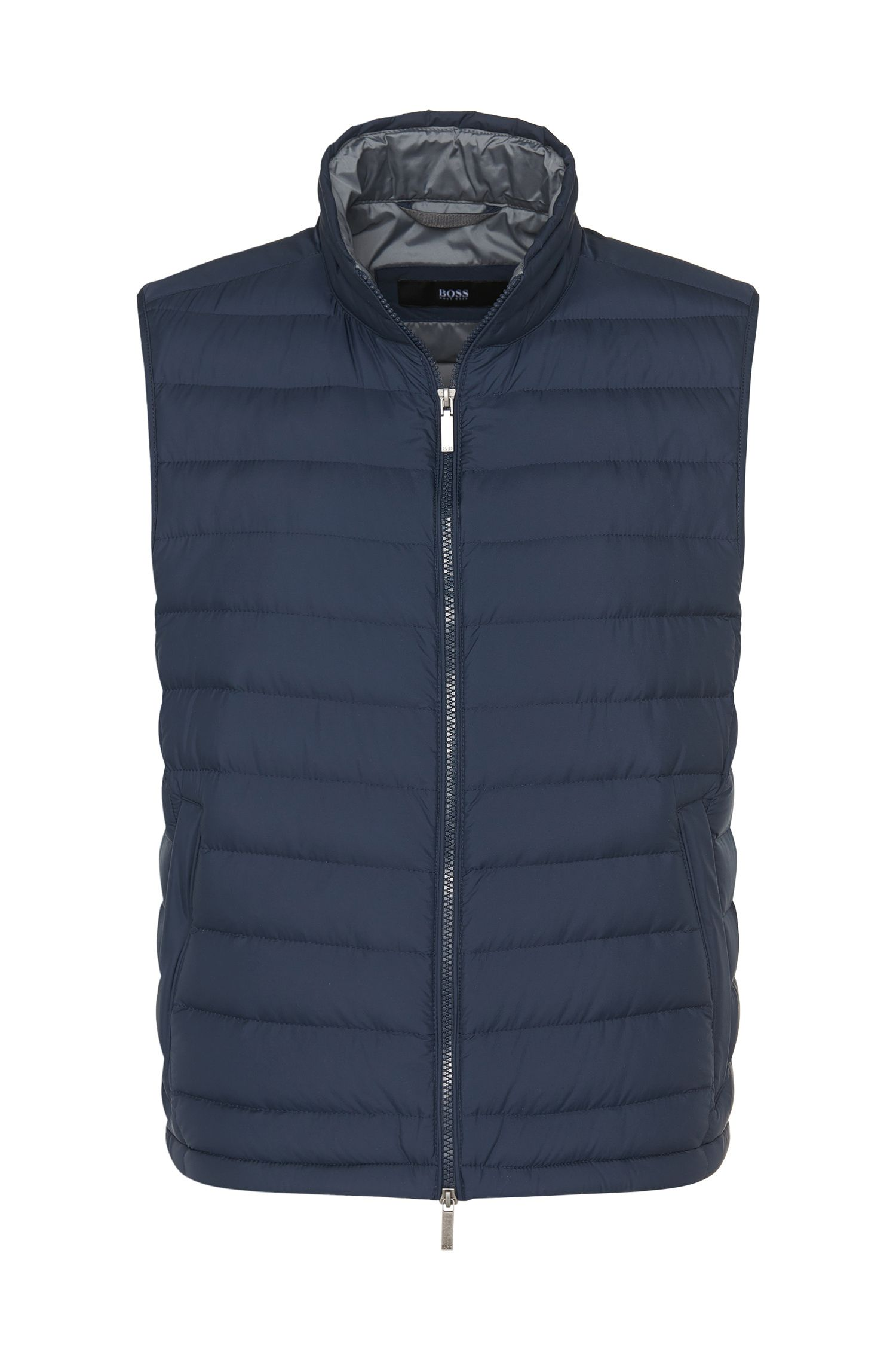 Quilted down gilet with short band collar: 'Davio2'