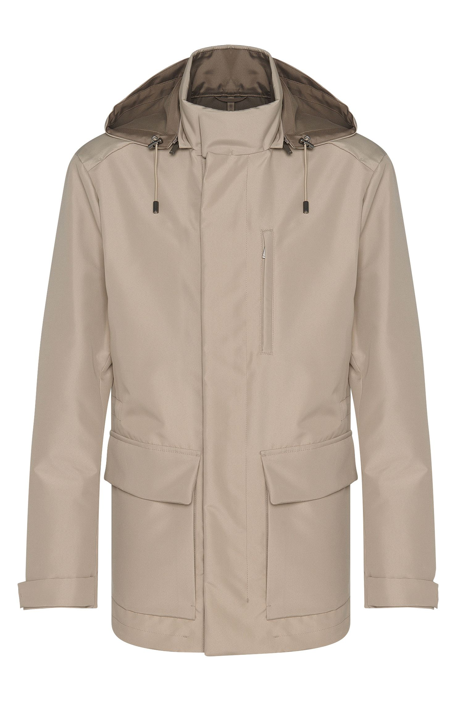 Parka in plain-coloured fabric with detachable hood: 'Califf'