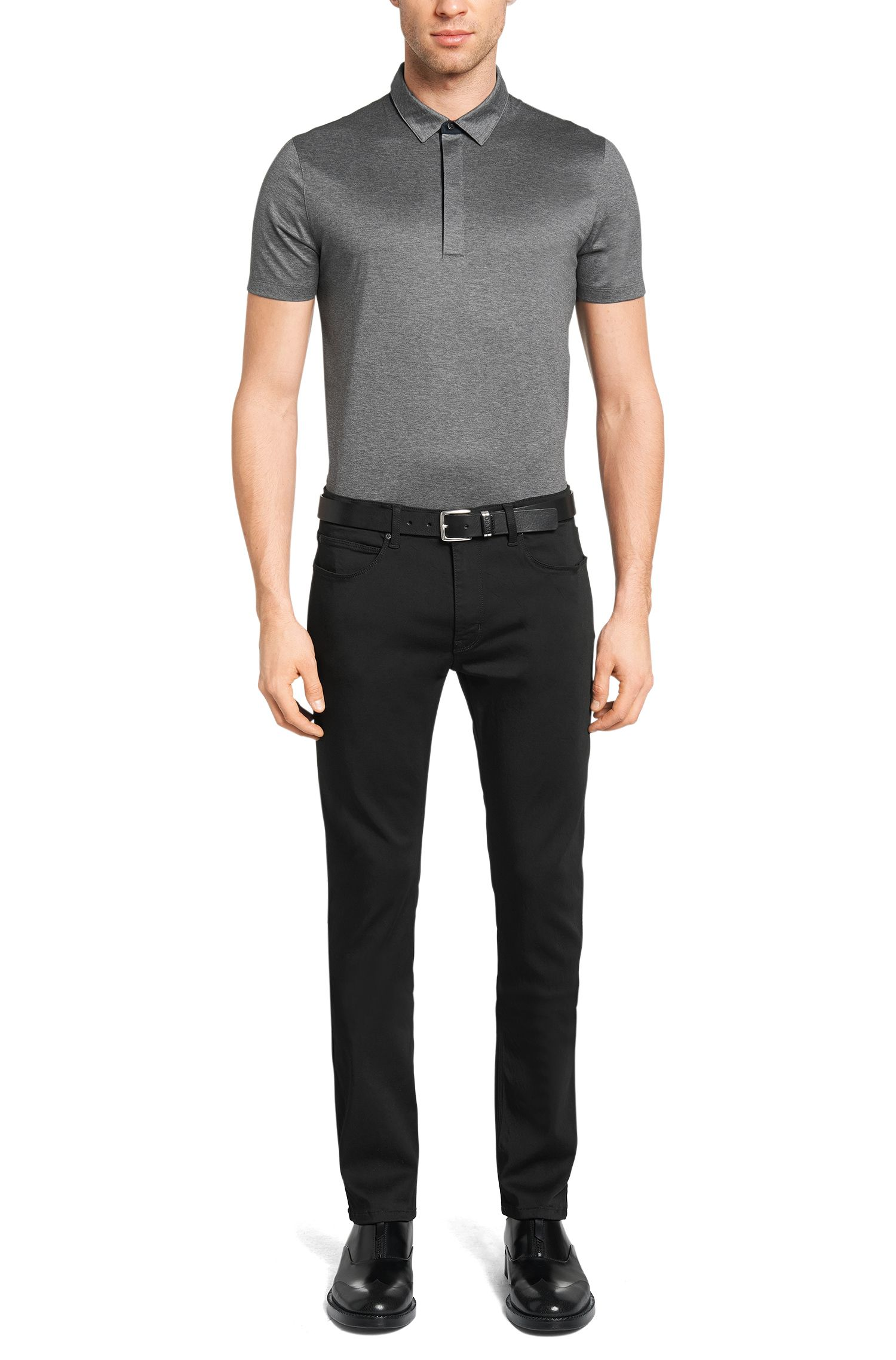 Unifarbene Skinny-Fit Jeans aus Modal-Mix: 'HUGO 734'
