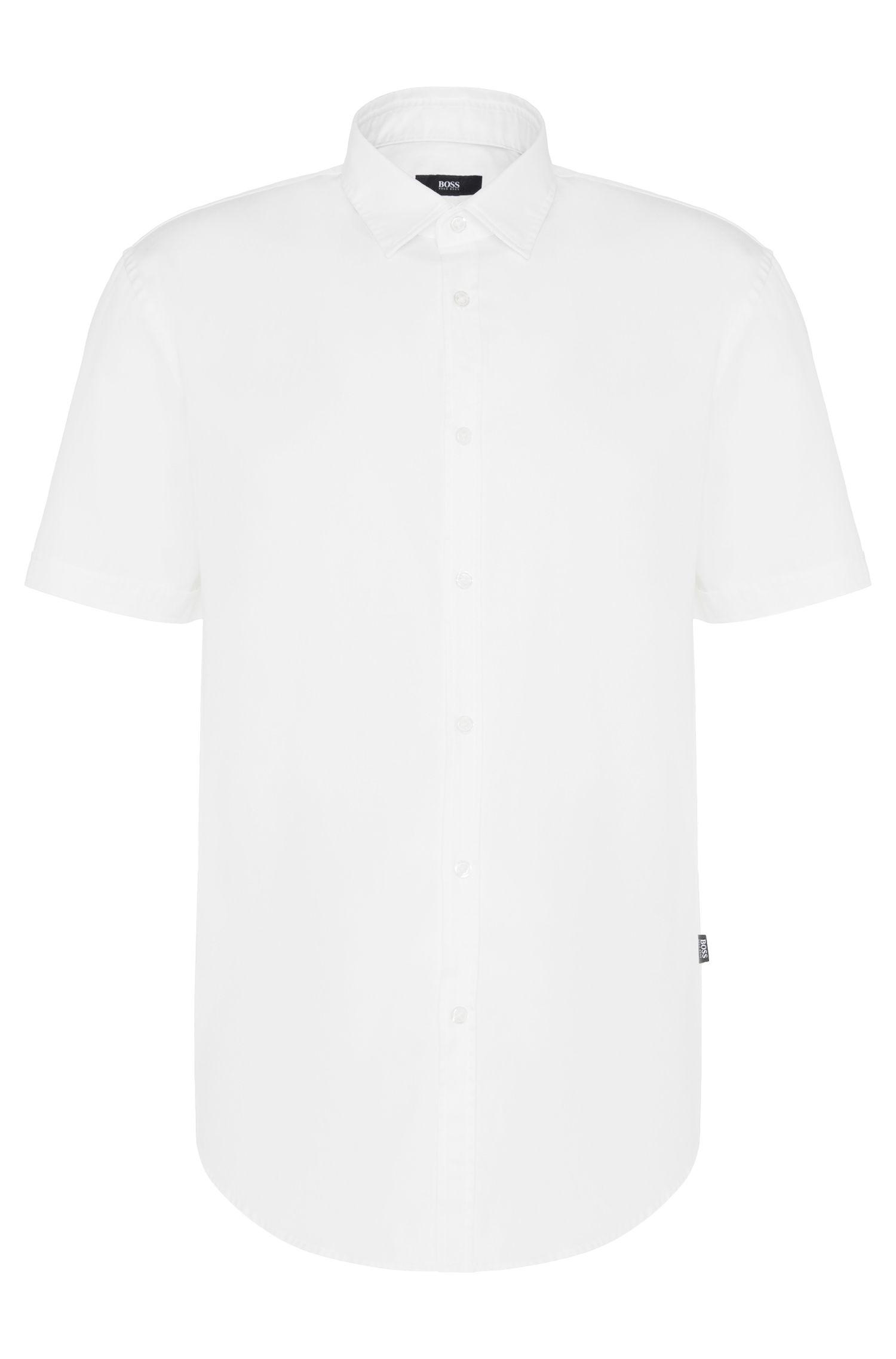 Camicia slim fit in cotone con maniche corte: 'Ronn'