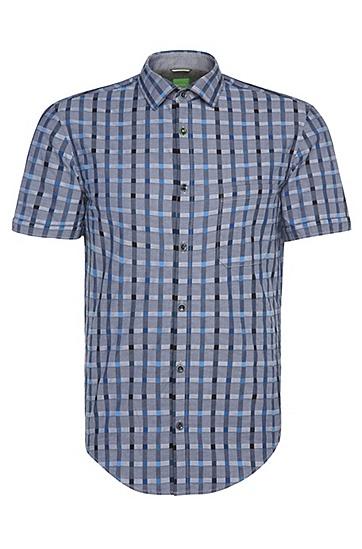 Kariertes Slim-Fit Hemd mit kurzen Ärmeln: ´Balduino`, Dunkelblau