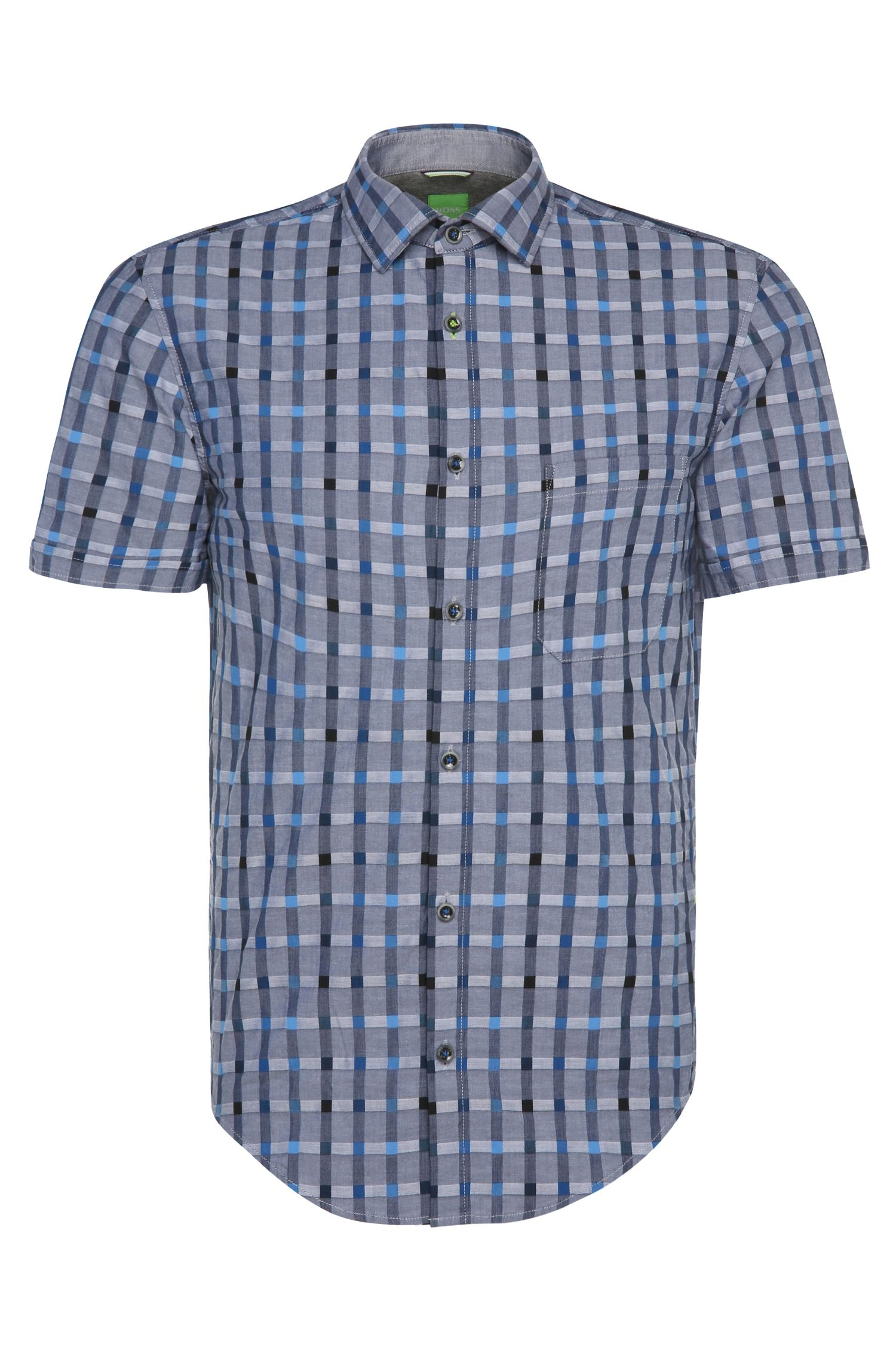 Checked slim-fit shirt with short sleeves: 'Balduino'