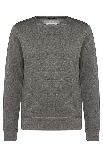 Meliertes Slim-Fit Sweatshirt aus Stretch-Viskose: 'Skubic 07', Grau