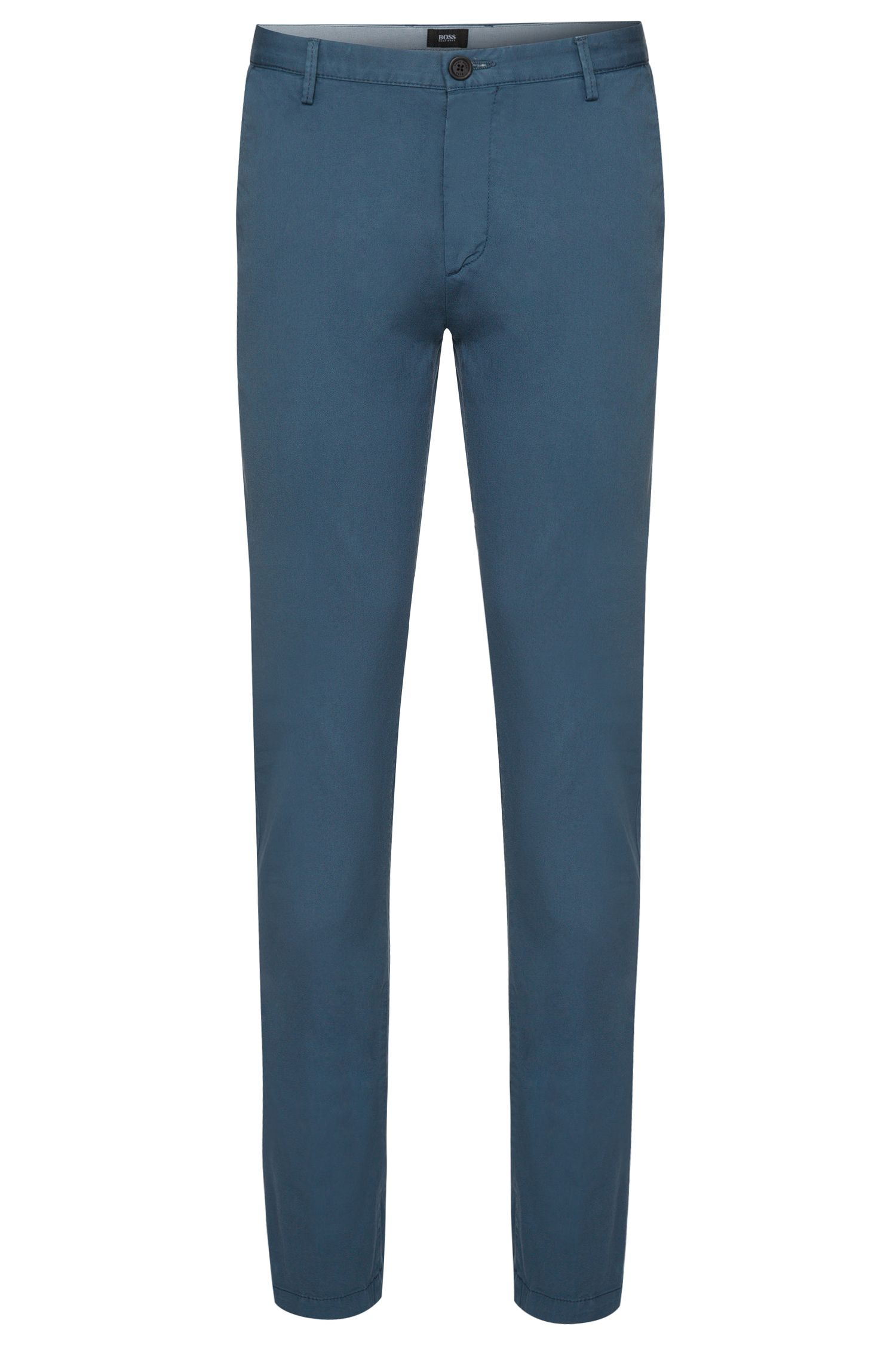 Plain-coloured slim-fit chinos in stretch cotton: 'Rice3-D'