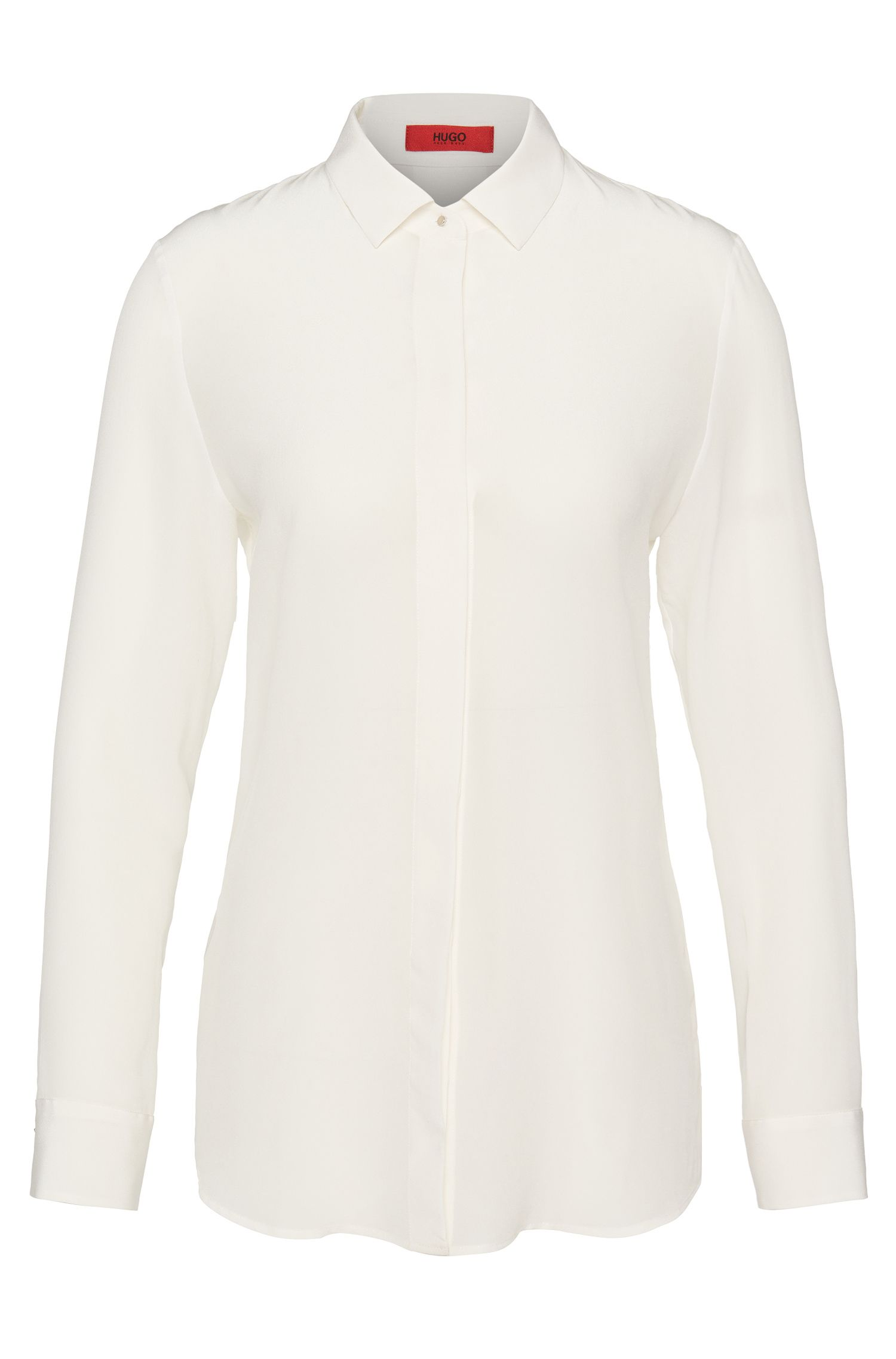 Figure-skimming shirt-style blouse in pure silk: 'Efesia'