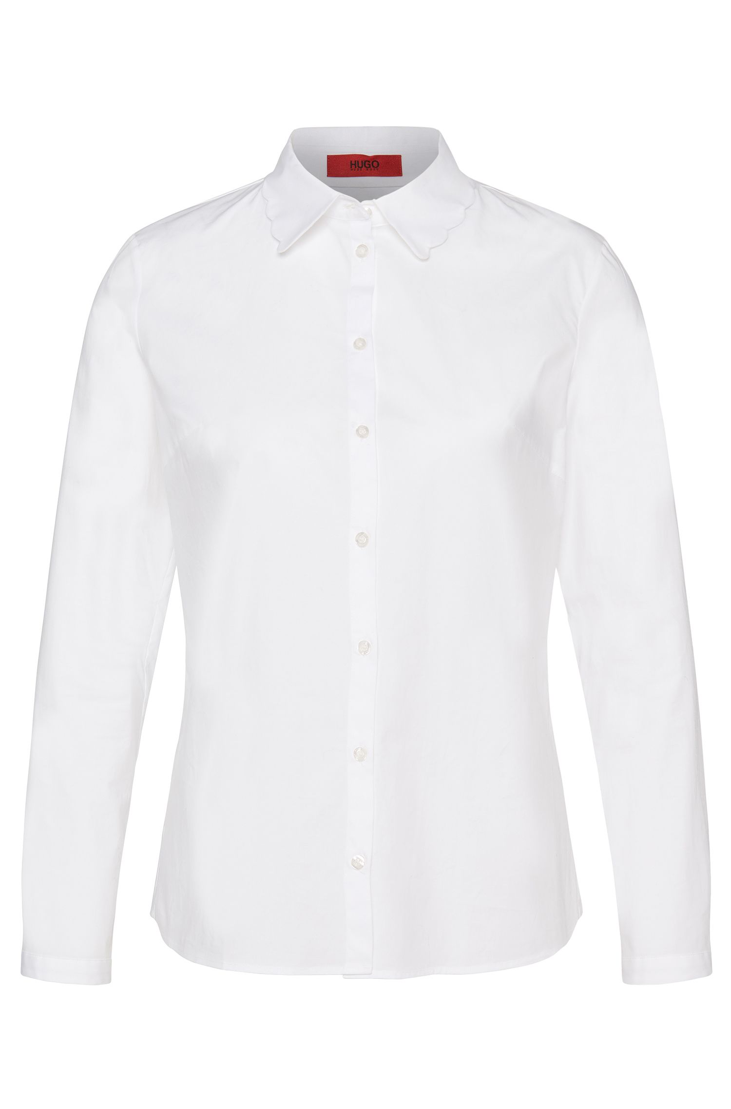 Slightly fitted blouse in stretch cotton: 'Edyel'