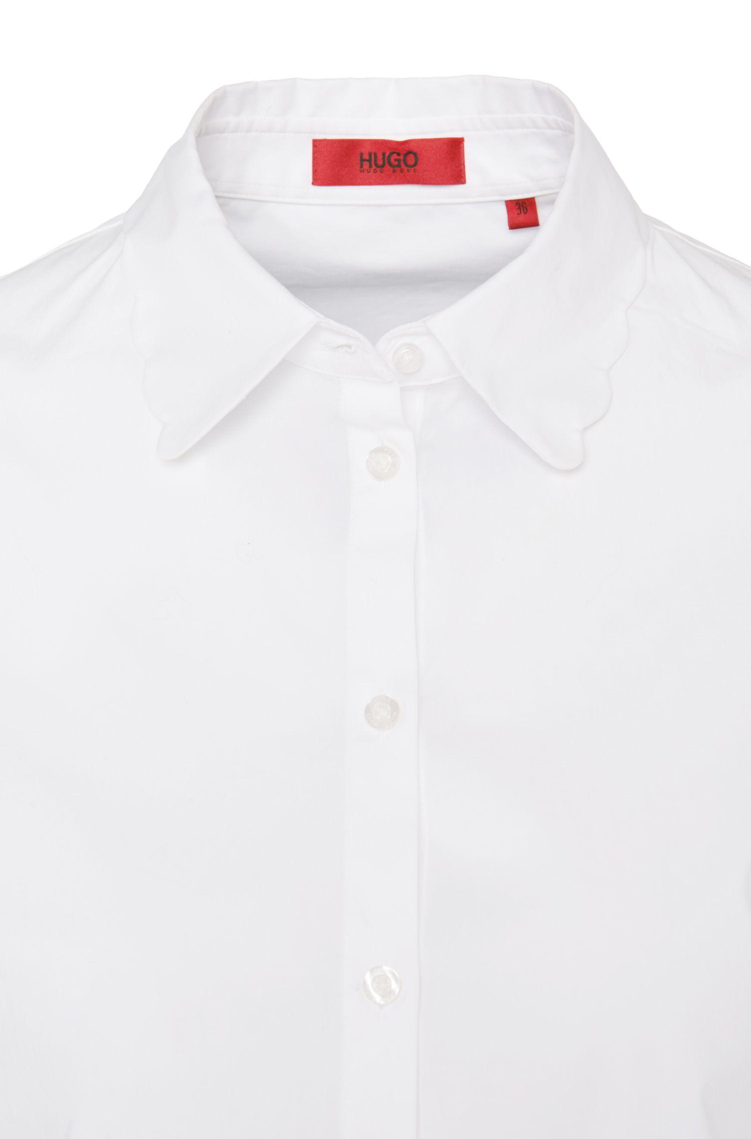 Iets getailleerde blouse van stretchkatoen: 'Edyel'
