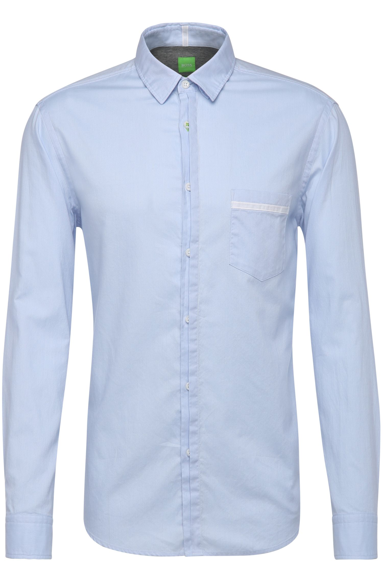 Regular-fit cotton shirt with detachable collar: 'Barbato'