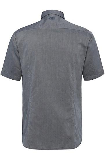 Regular-Fit Kurzarm-Hemd aus texturierter Baumwolle: ´Barbatino`, Dunkelblau