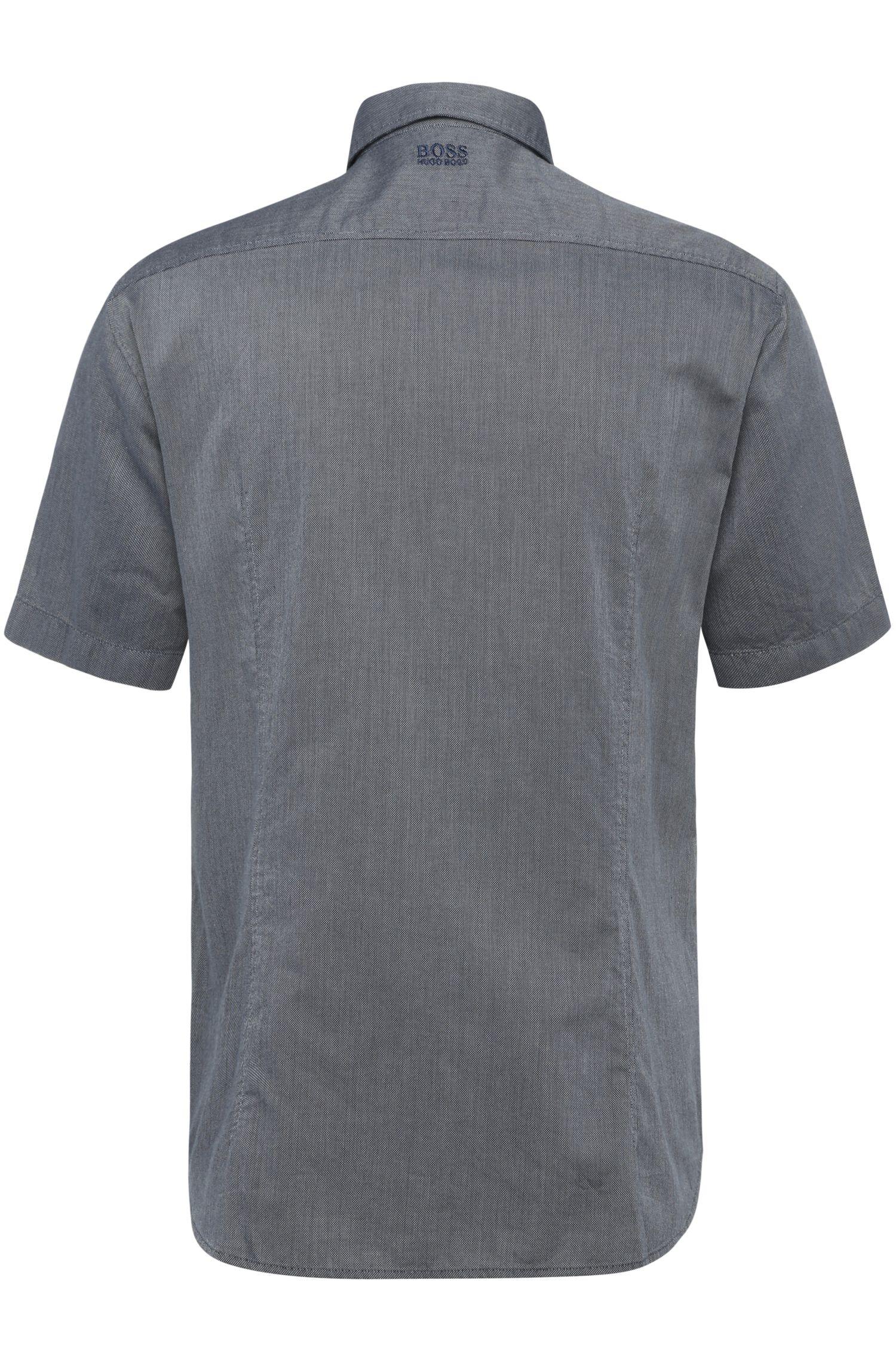 Regular-Fit Kurzarm-Hemd aus texturierter Baumwolle: ´Barbatino`