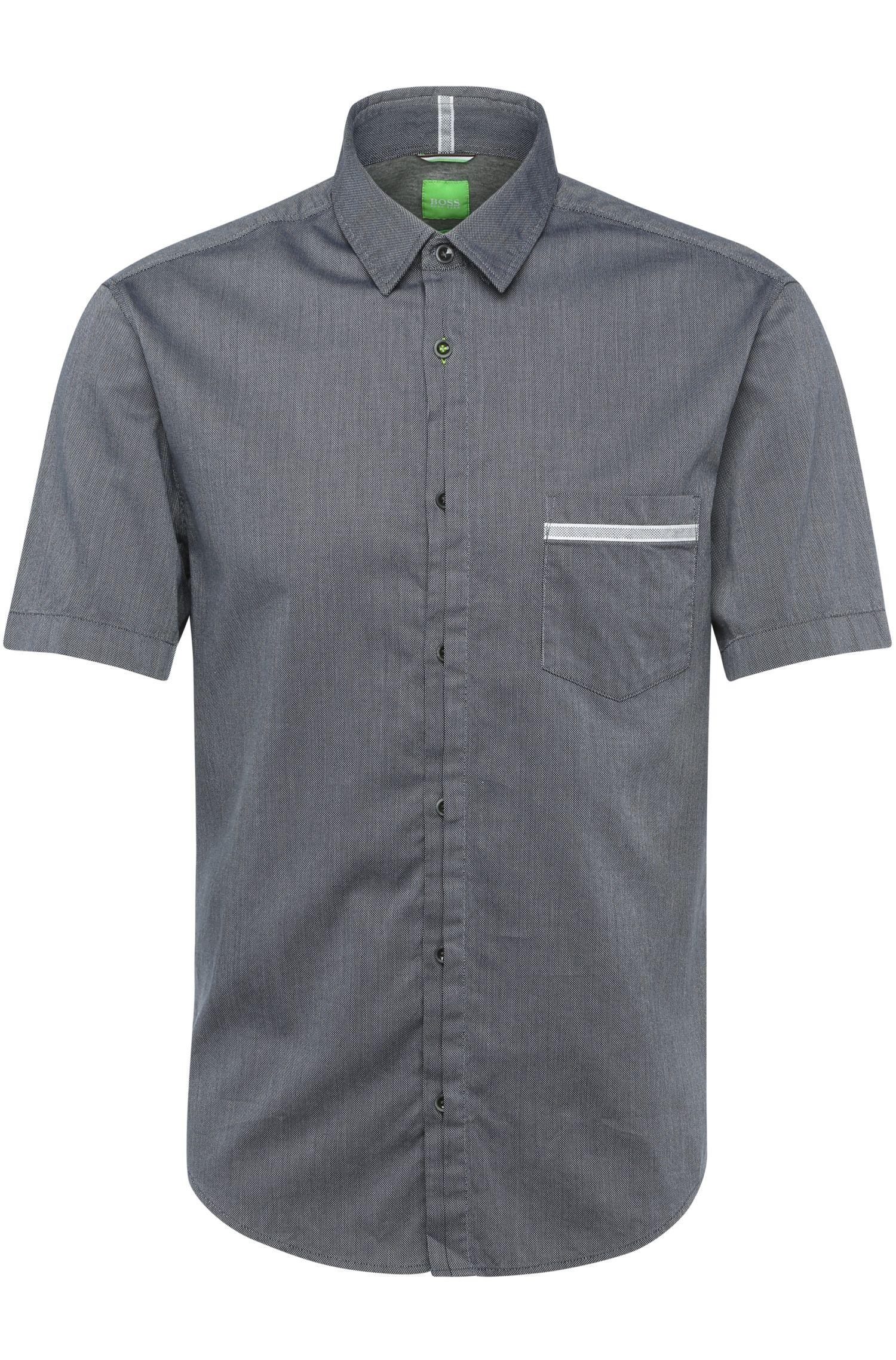 Regular-fit overhemd met korte mouwen van getextureerd katoen: 'Barbatino'