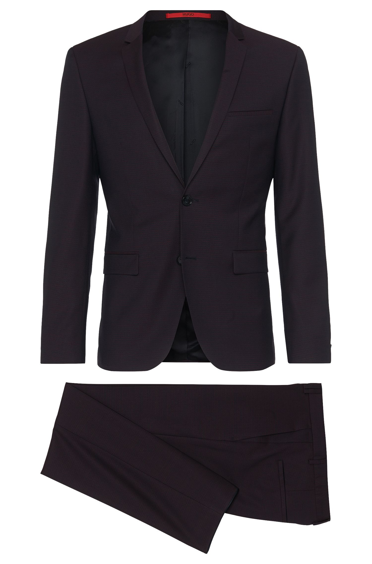 Extra-slim-fit suit in new wool with pattern: 'Adris4/Heibo3'