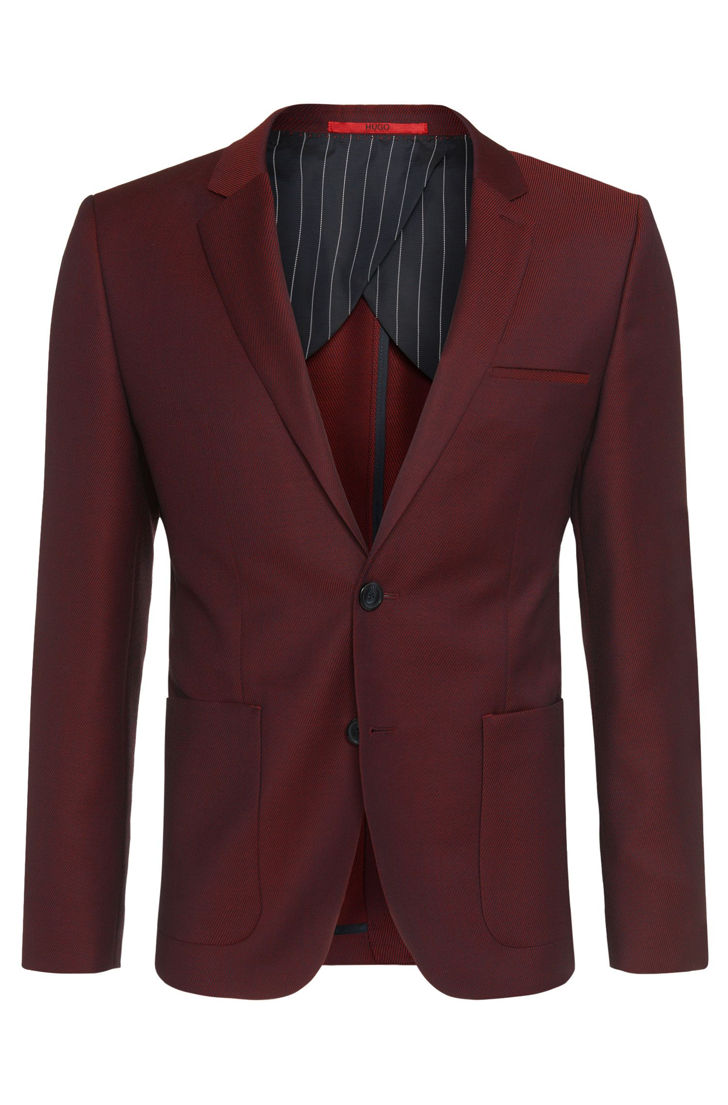 Finely striped slim-fit jacket in new wool: 'Antano'