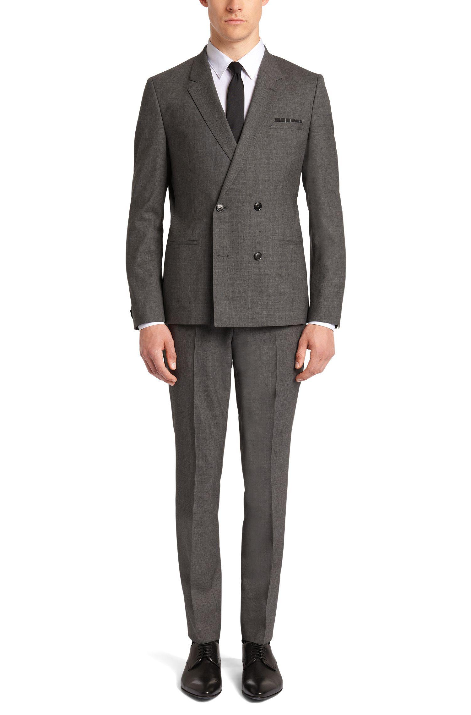 Slim-Fit Anzug aus Stretch-Baumwolle mit zweireihiger Knopfleiste: 'Aralt/Herlon'