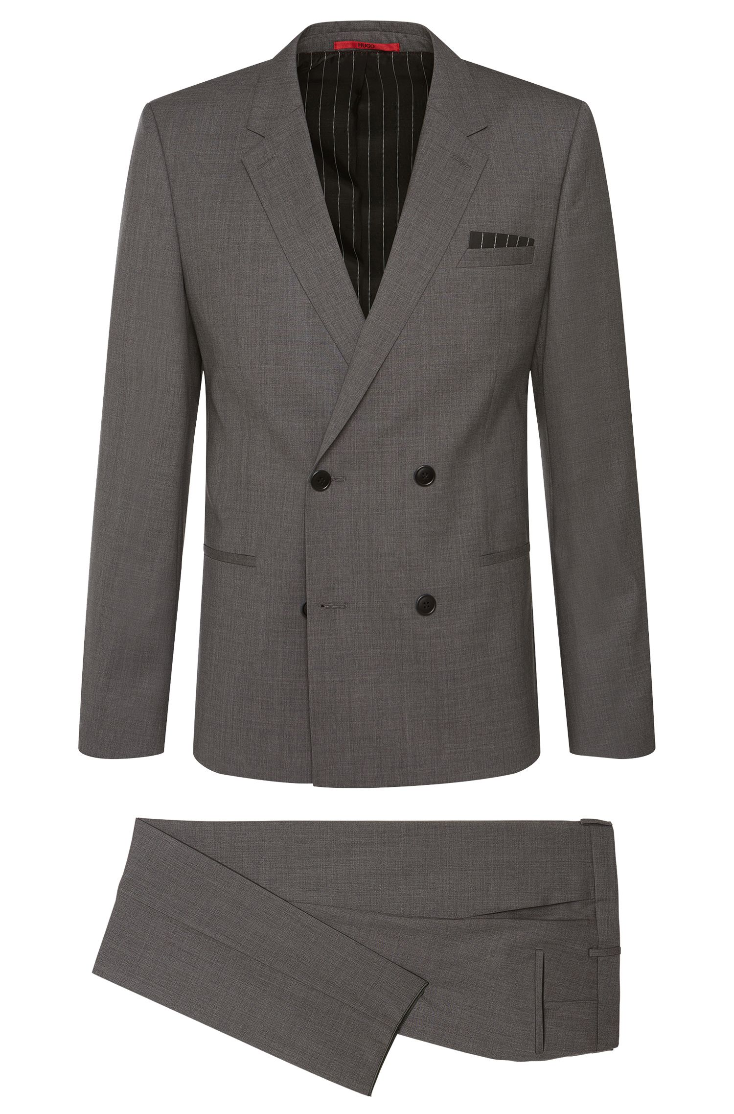 Slim-fit suit in stretchy new wool with a double-breasted button placket: 'Aralt/Herlon'