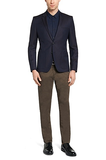 Patterned slim-fit jacket in new wool: 'Antano', Dark Blue