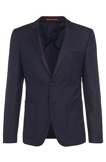 Veste de costume Slim Fit à motif en laine vierge: «Antano», Bleu foncé