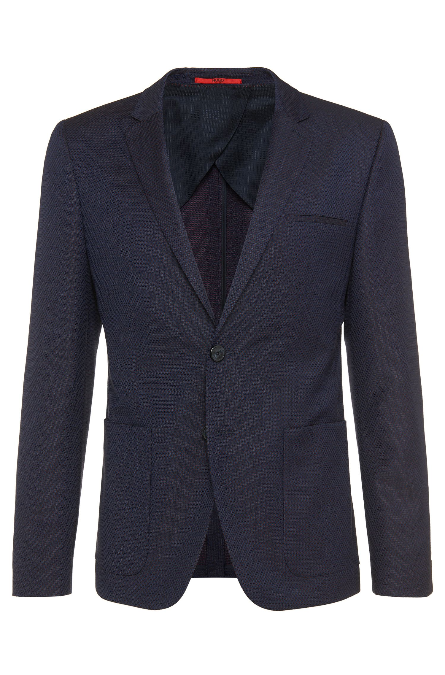 Patterned slim-fit jacket in new wool: 'Antano'