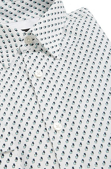 Gemustertes Slim-Fit Hemd aus Baumwolle: 'Rodney_25', Weiß