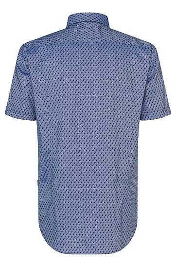Gemustertes Slim-Fit Hemd aus Baumwolle: 'Ronn_5', Dunkelblau