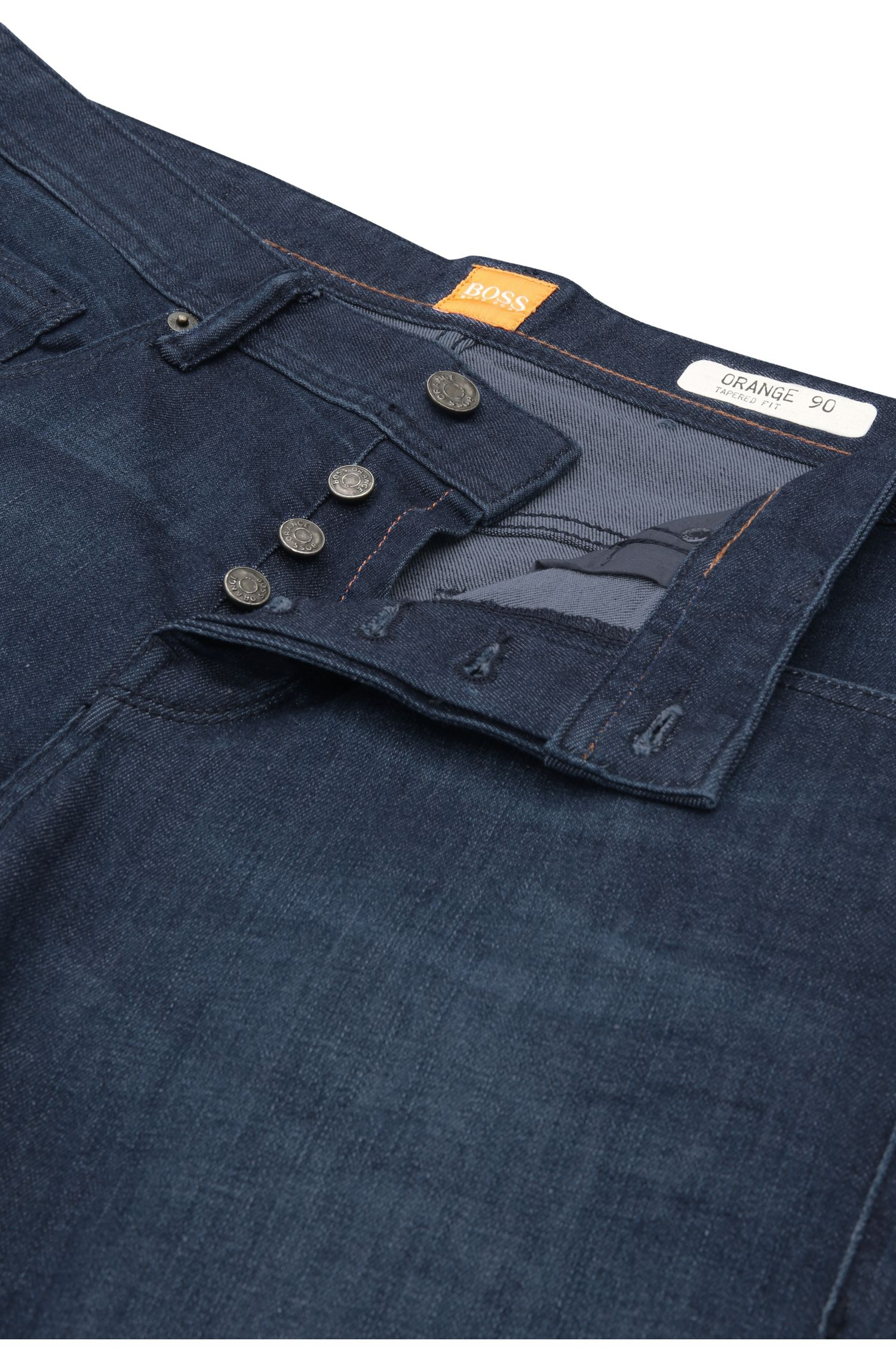 Tapered-fit jeans van een elastische katoenmix: 'Orange90'