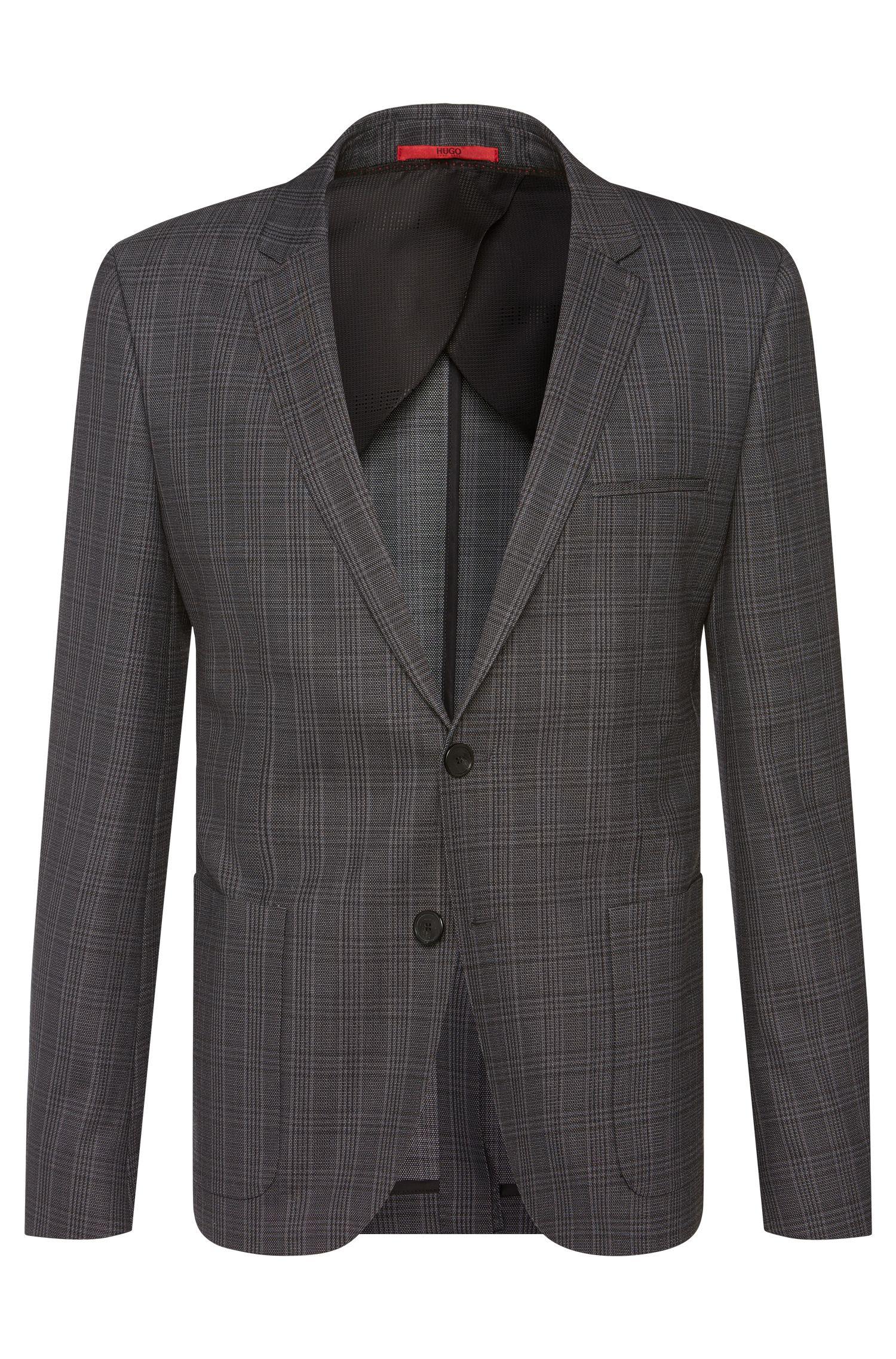 Veste de costume Slim Fit en laine vierge mélangée à carreaux: «Antano»