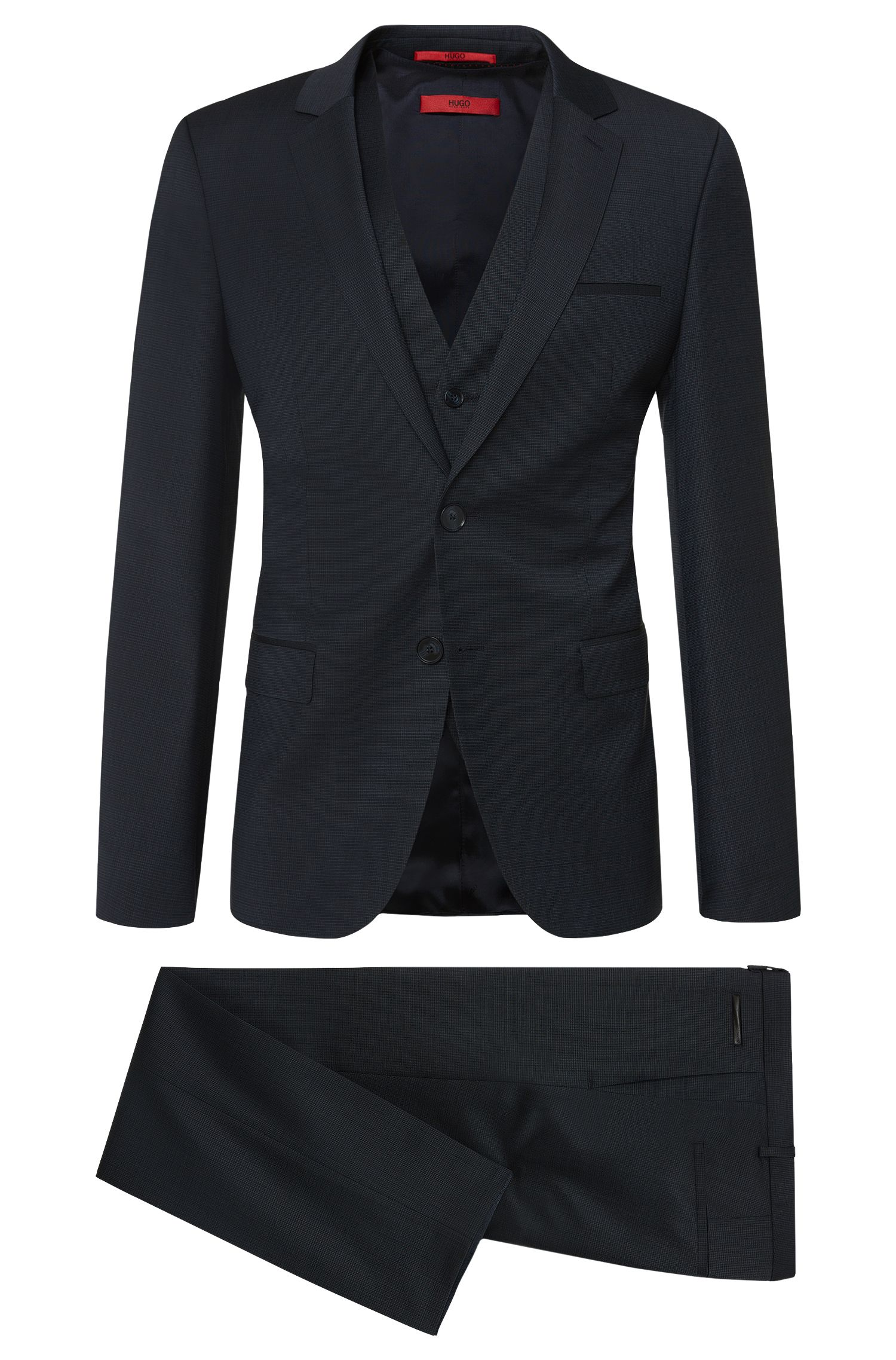 Slim-fit 3-piece suit in stretchy new wool with leather effect detail: 'Alin/Wyns/Hetlin'