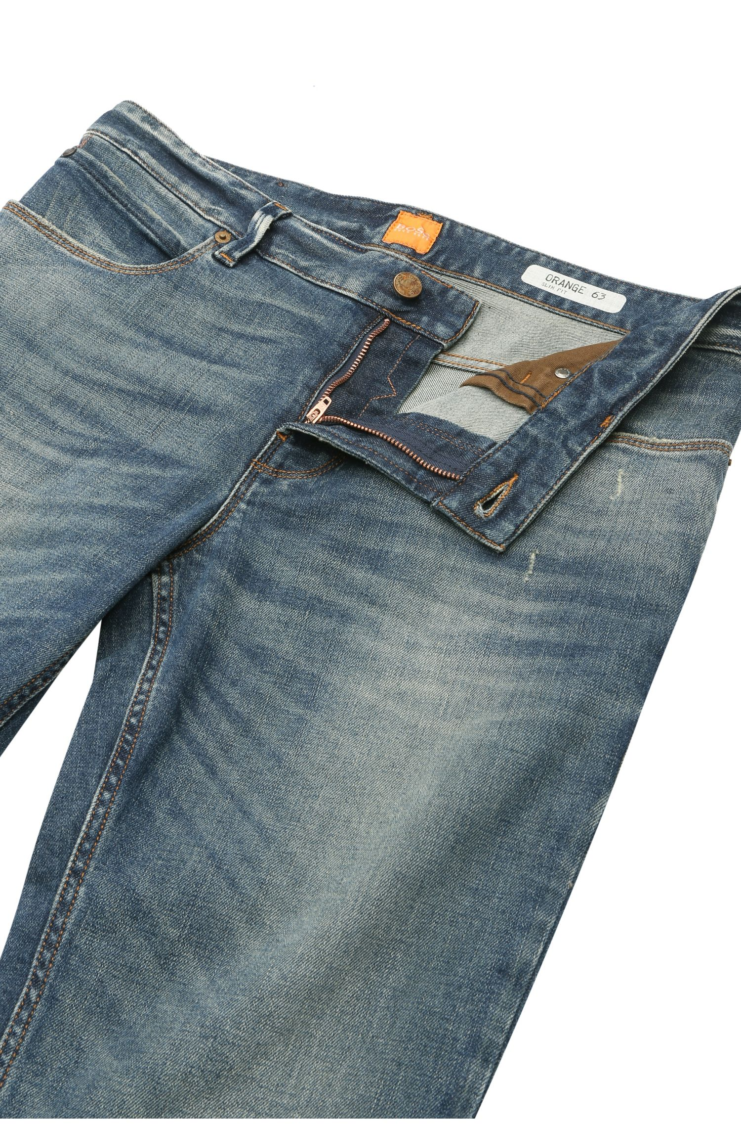 Slim-fit used-jeans van stretchkatoen: 'Orange63'