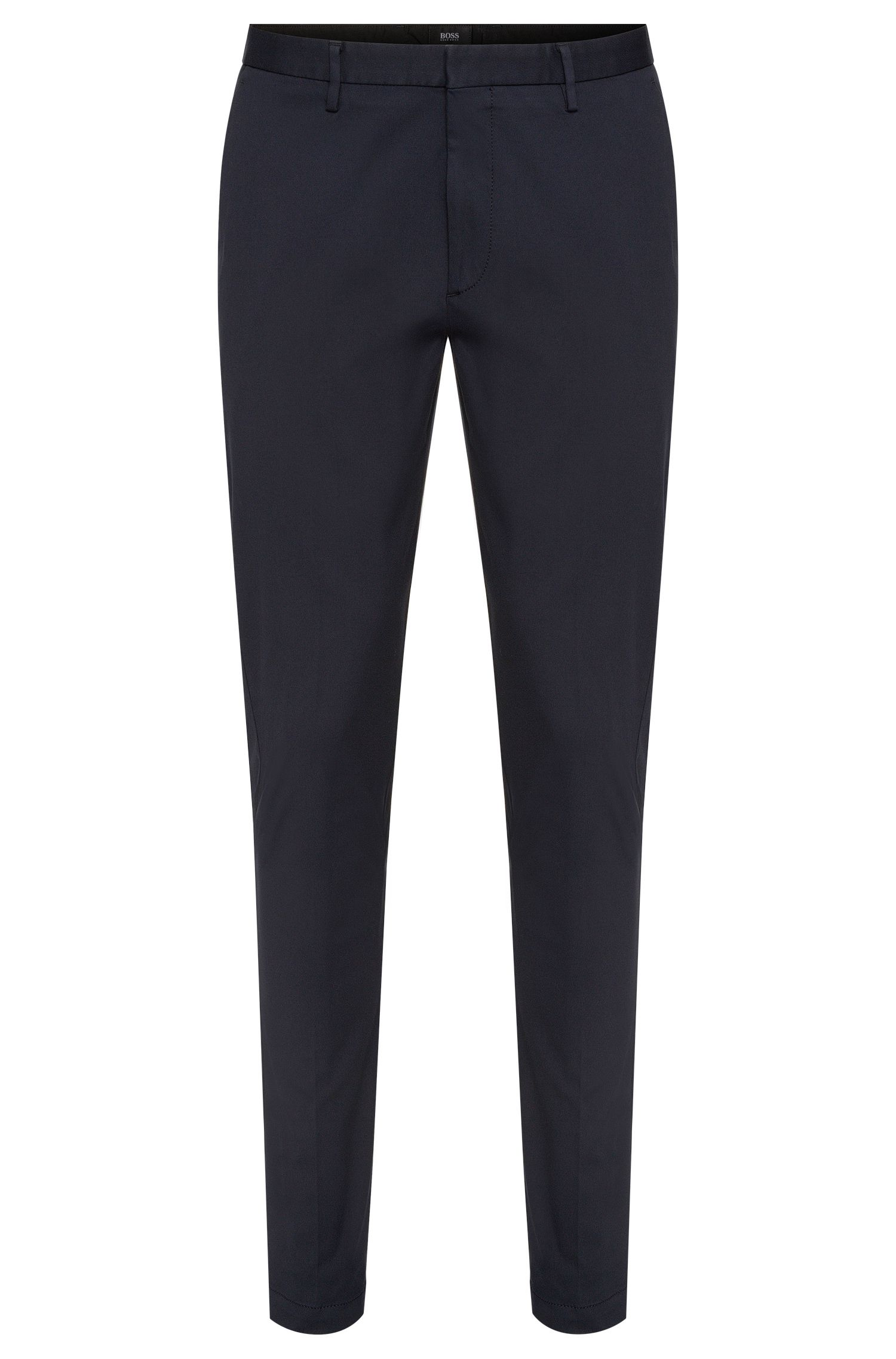 Plain-coloured slim-fit trousers in cotton blend: 'Kaito3-W'