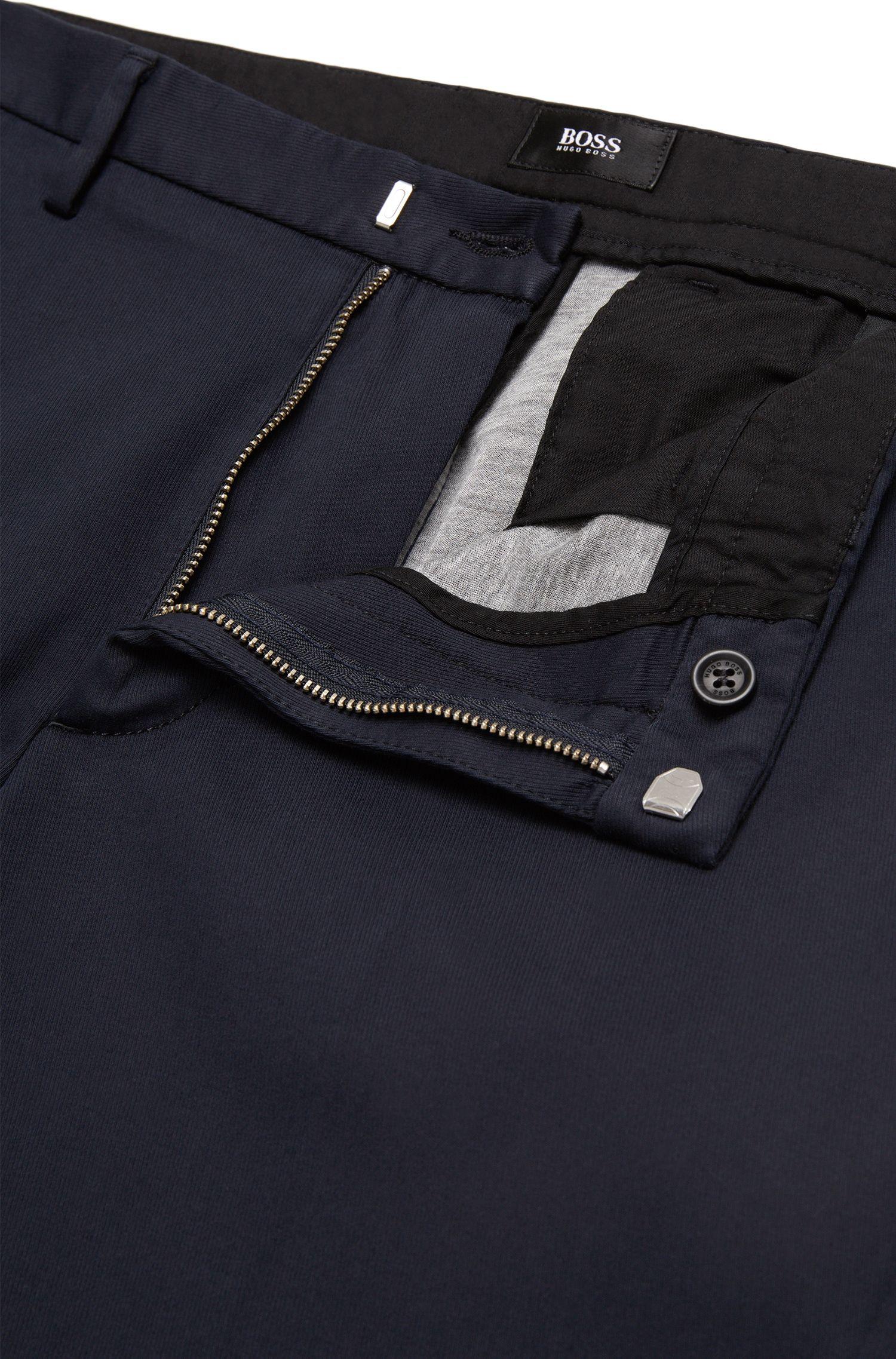 Pantalon Slim Fit uni en coton mélangé: «Kaito3-W»