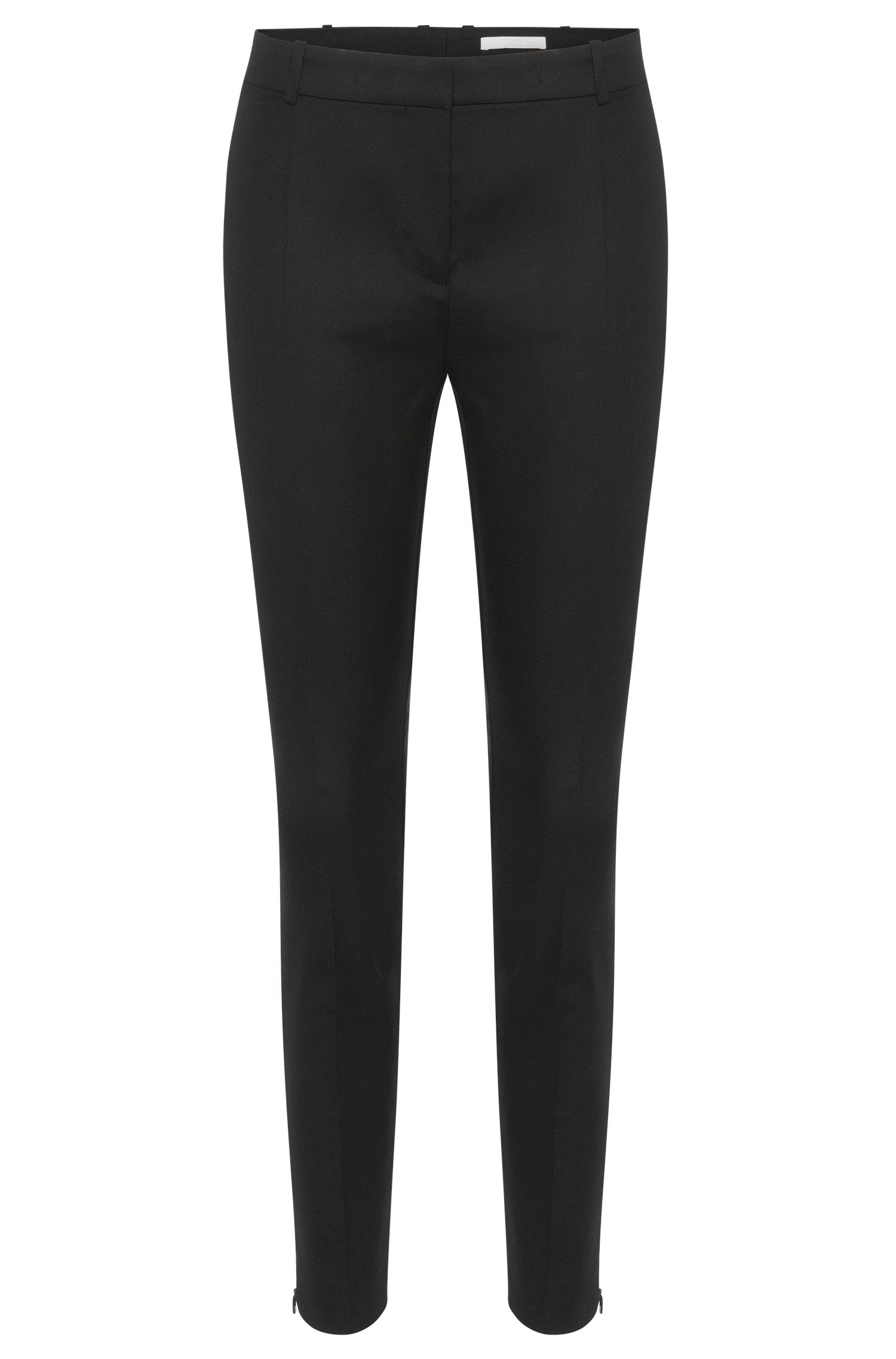 Plain-coloured trousers in stretch cotton: 'Arima'